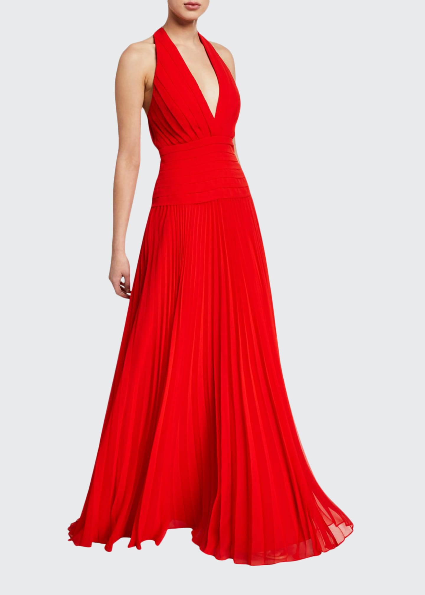 Image 1 of 2: Pleated Georgette Halter Gown