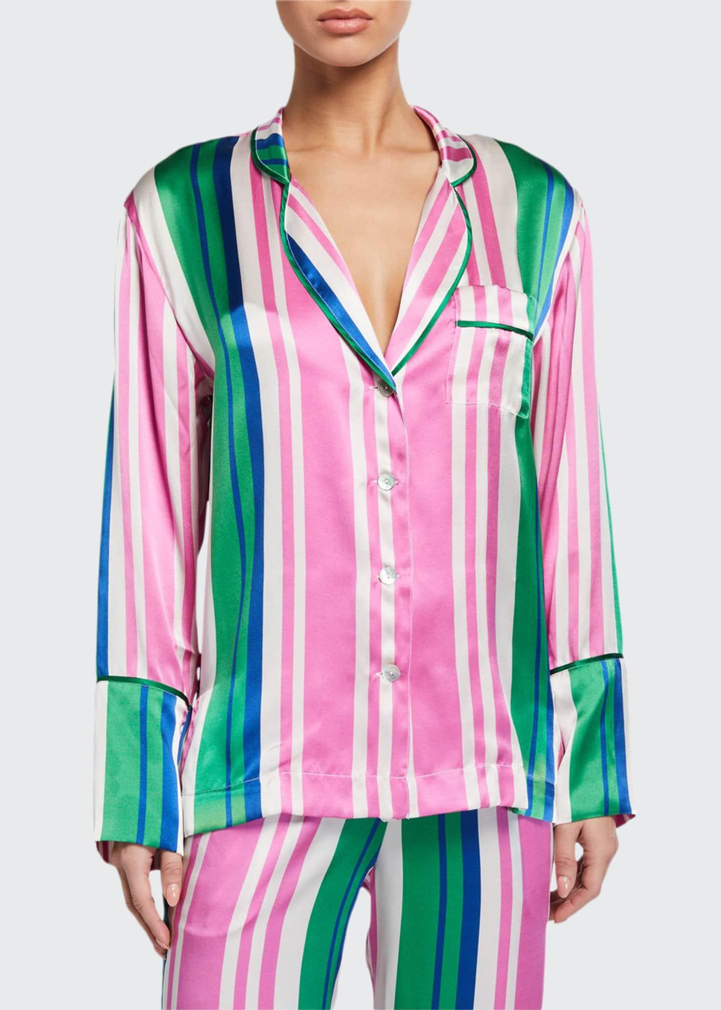 Hesper Fox Evie Striped Silk Pajama Shirt