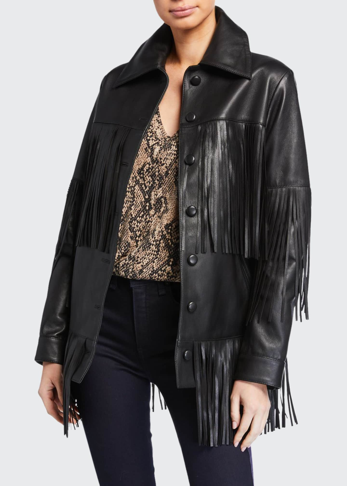 Image 1 of 3: Rimon Lamb Leather Fringe Jacket, Black