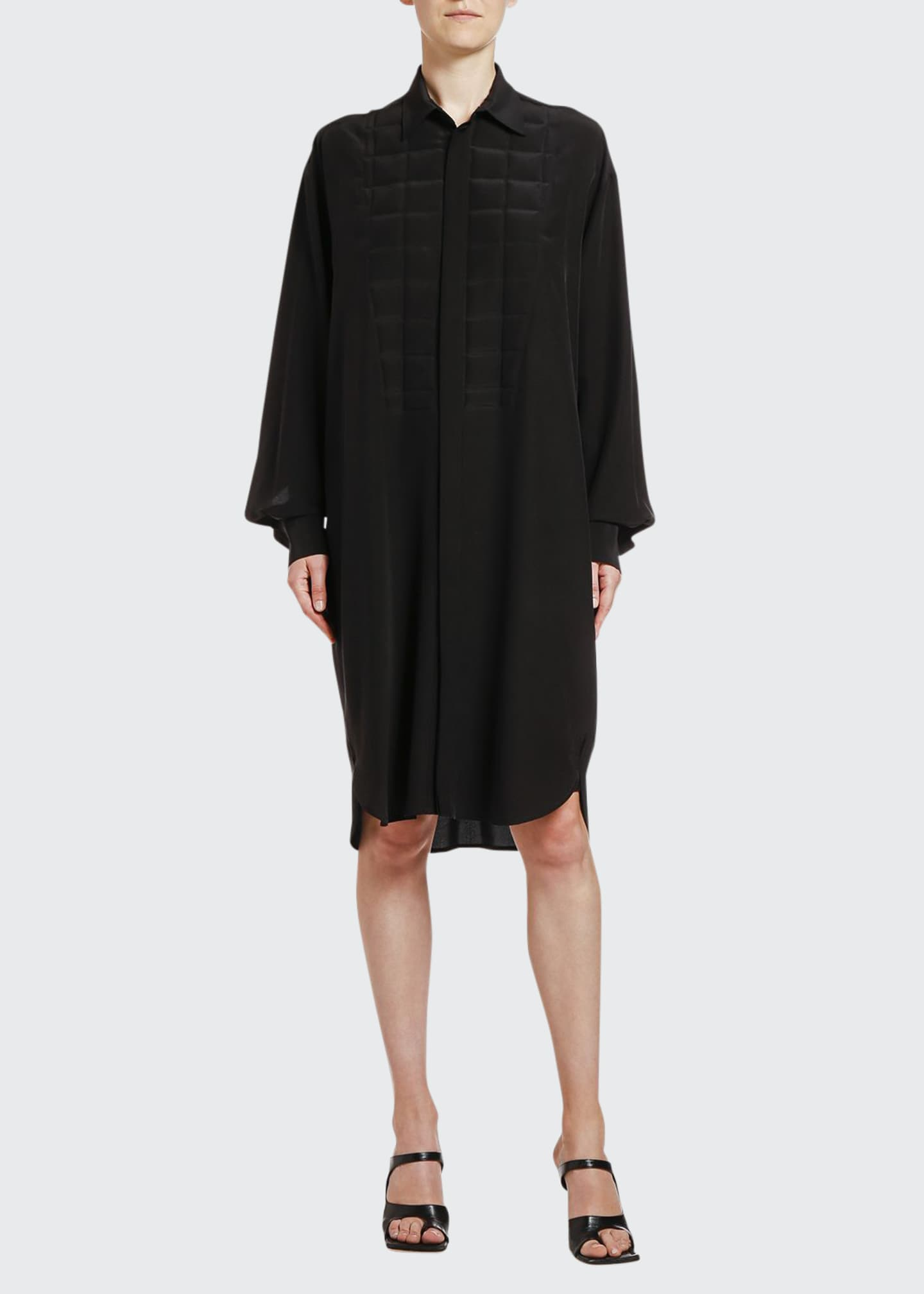 Image 1 of 2: Square Heat-Stamped Crepe de Chine Shirtdress