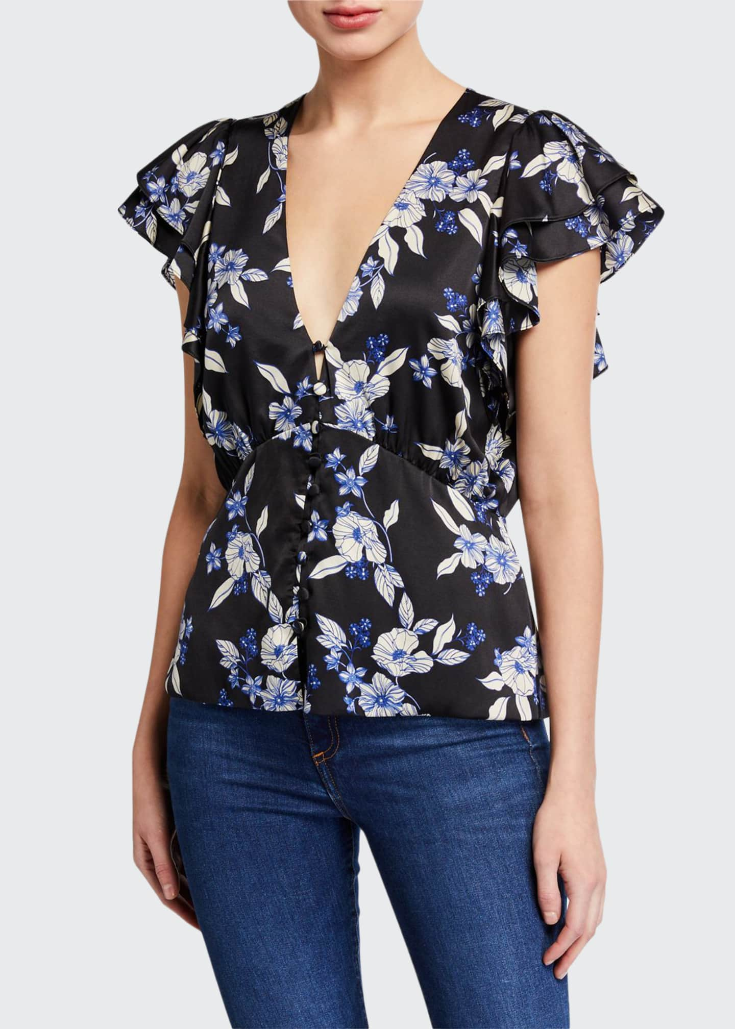 Image 1 of 2: Polly Floral Button-Front Top