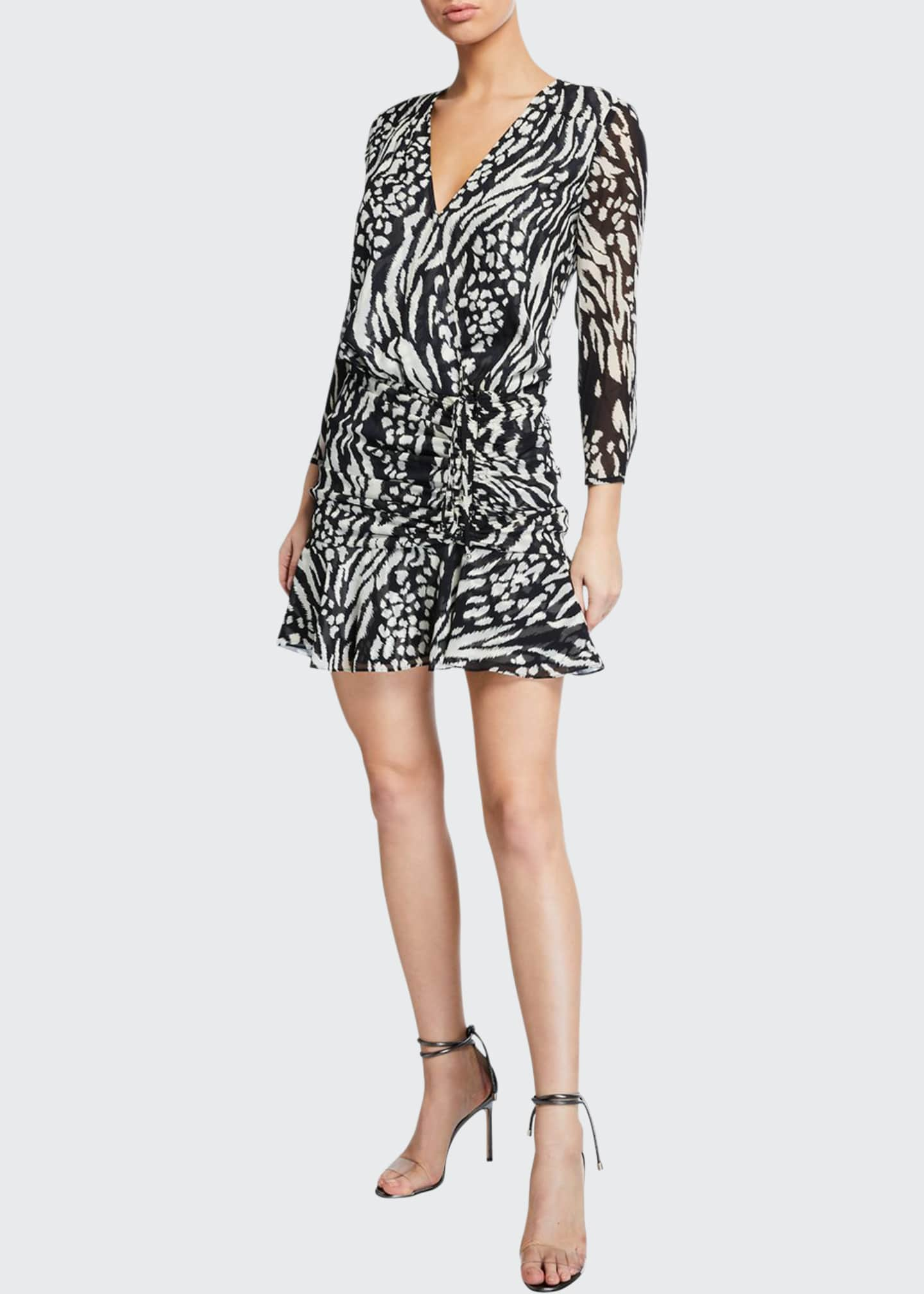 Image 1 of 2: Kiran Ruched Long-Sleeve Flounce Dress