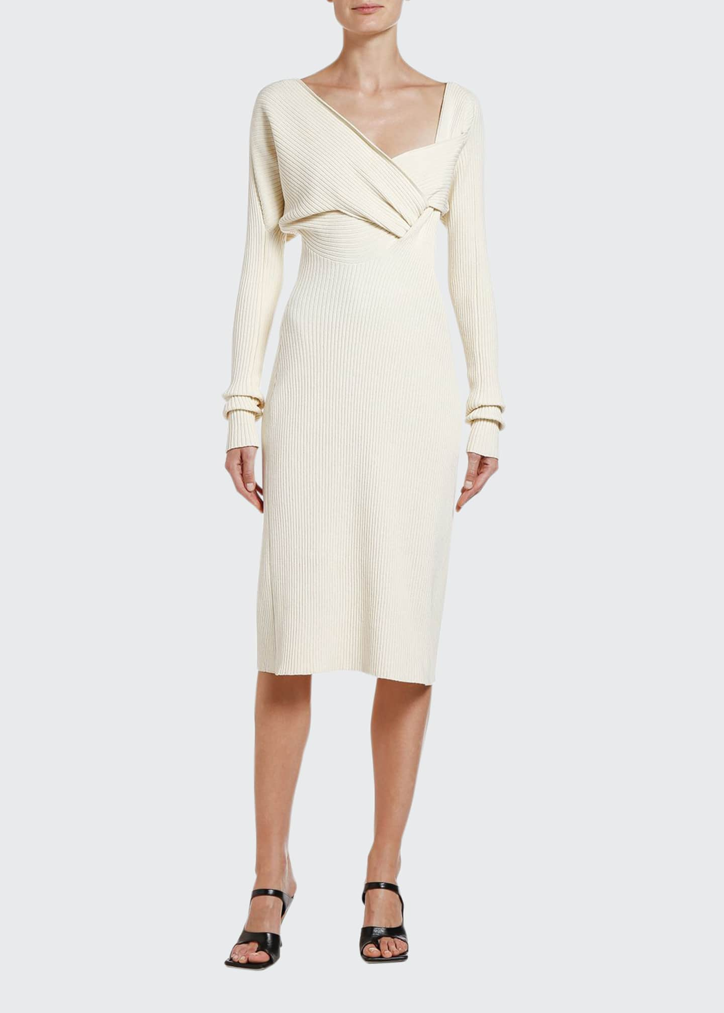 Image 1 of 2: Ruched Ribbed Sweater Dress