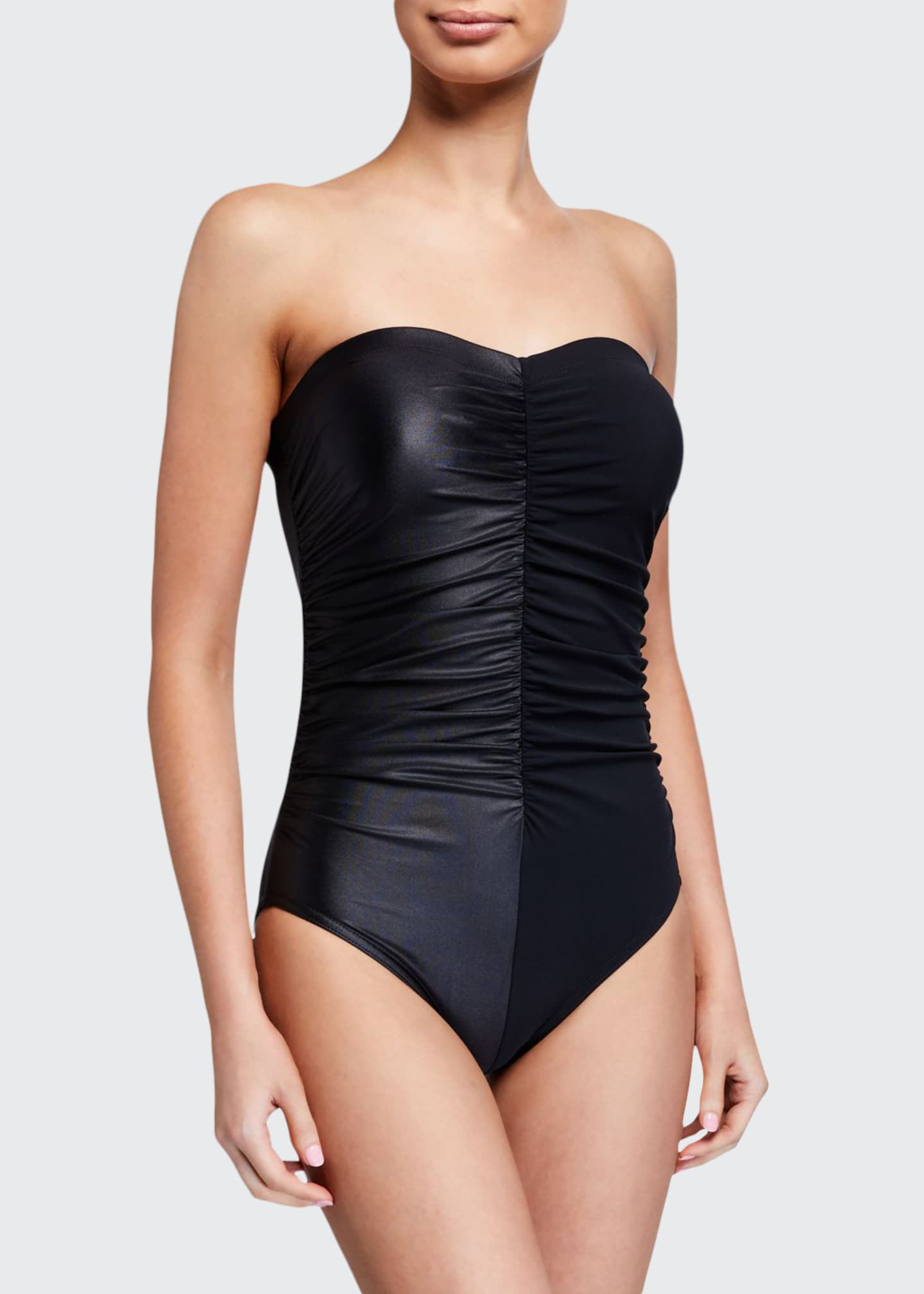 Karla Colletto Isla Bandeau One-Piece Swimsuit with Shelf