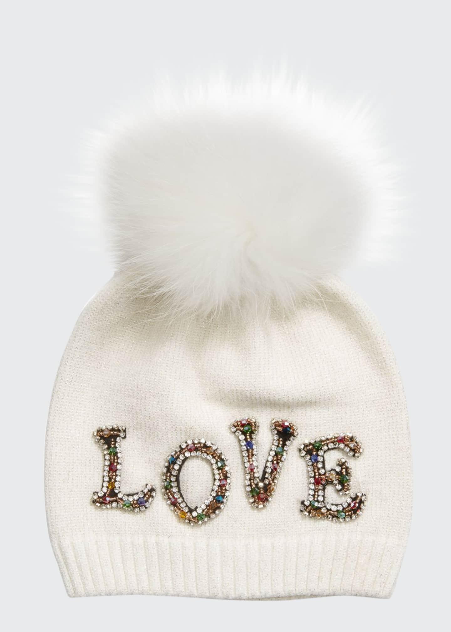 Bari Lynn Girl's Scattered Love Lurex Beanie Hat