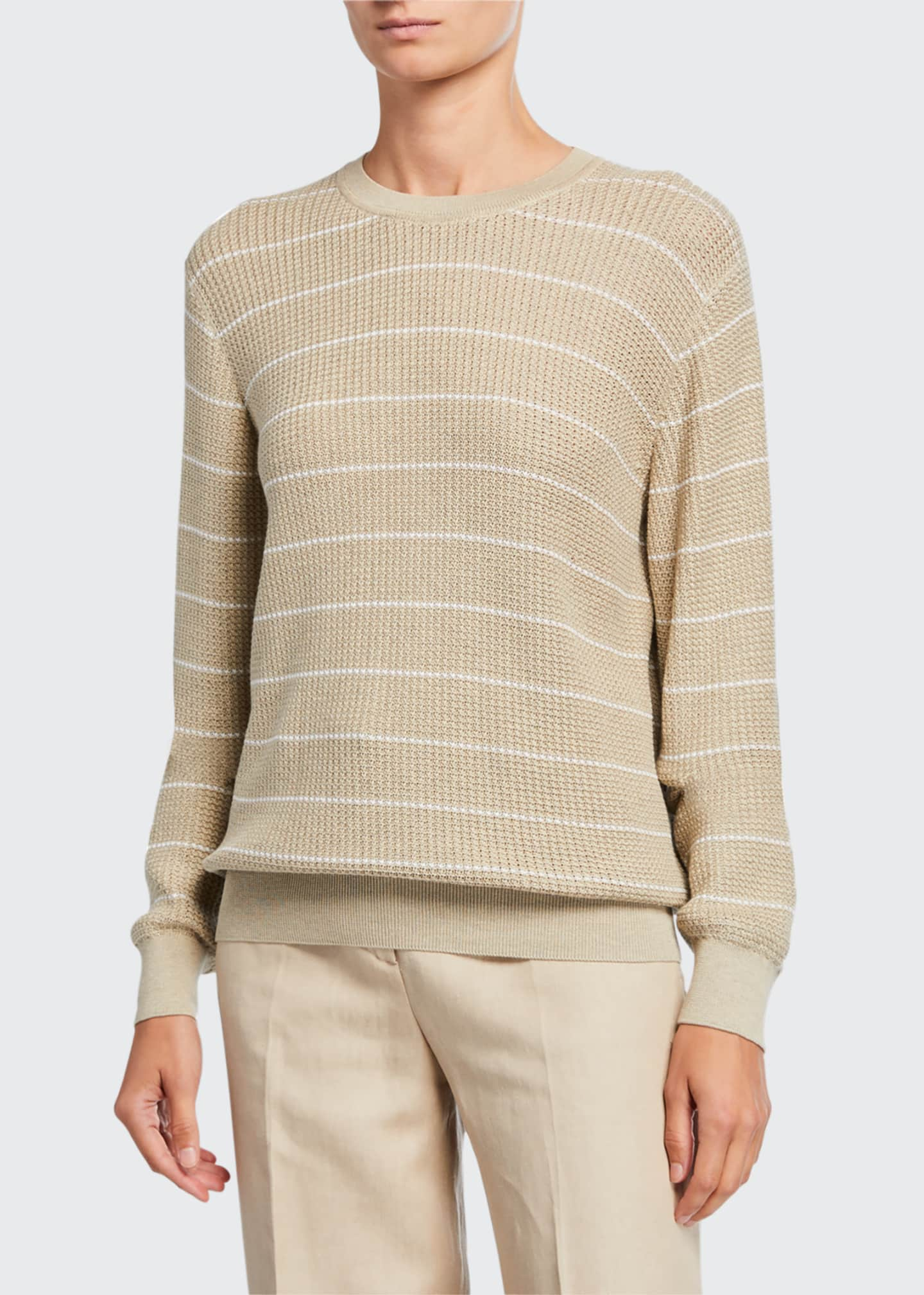 Image 1 of 2: Striped Balloon-Sleeve Crewneck Sweater