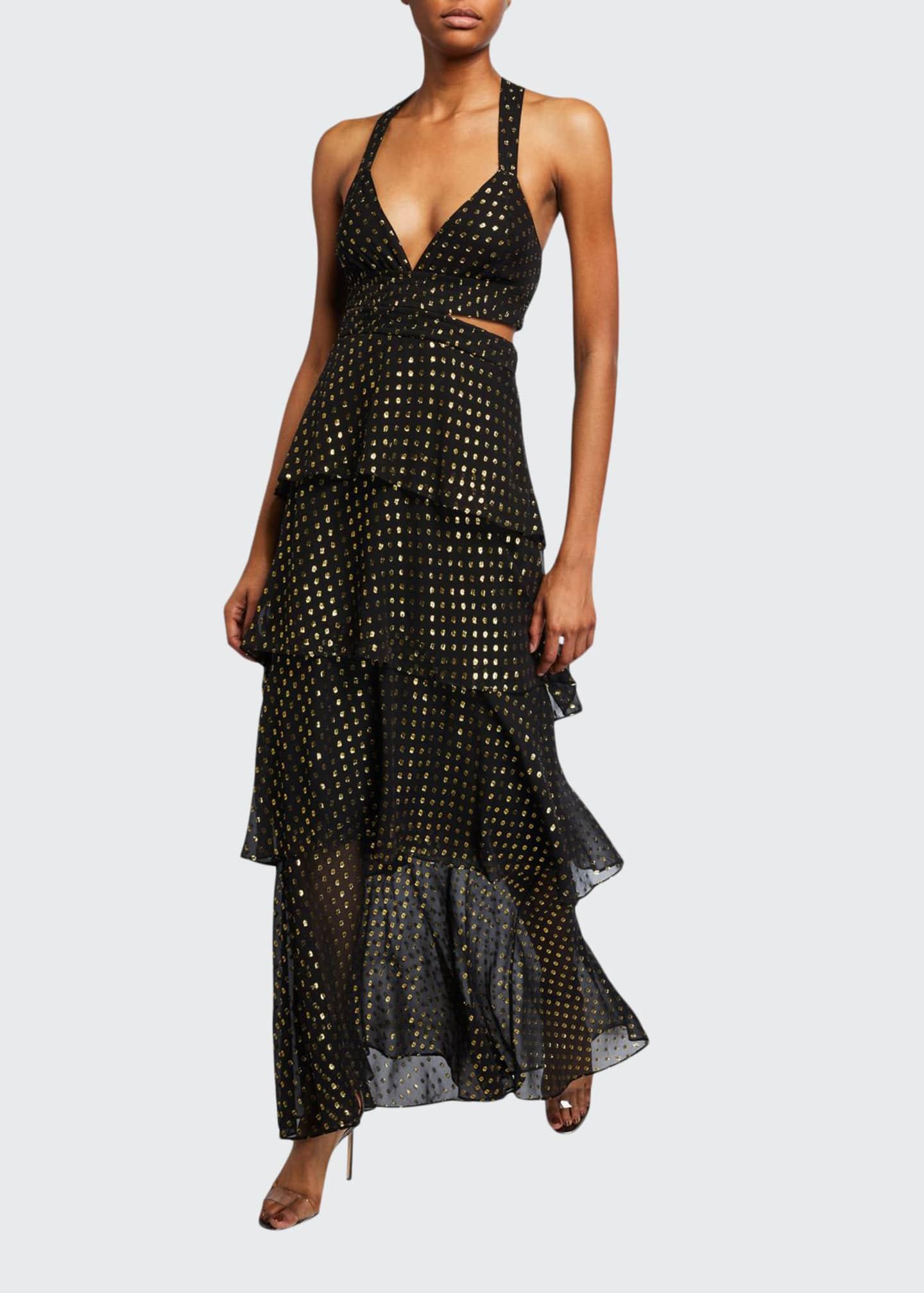 A.L.C. Lita Metallic Tiered Cocktail Dress