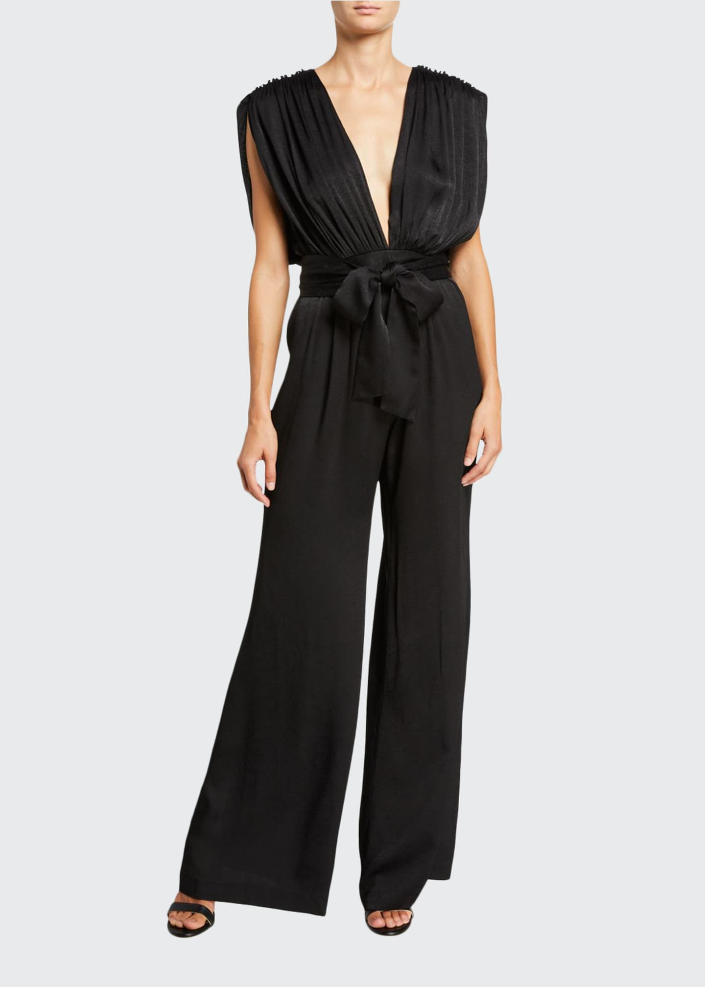 Image 1 of 2: Astrid Plunging Wide-Leg Jumpsuit