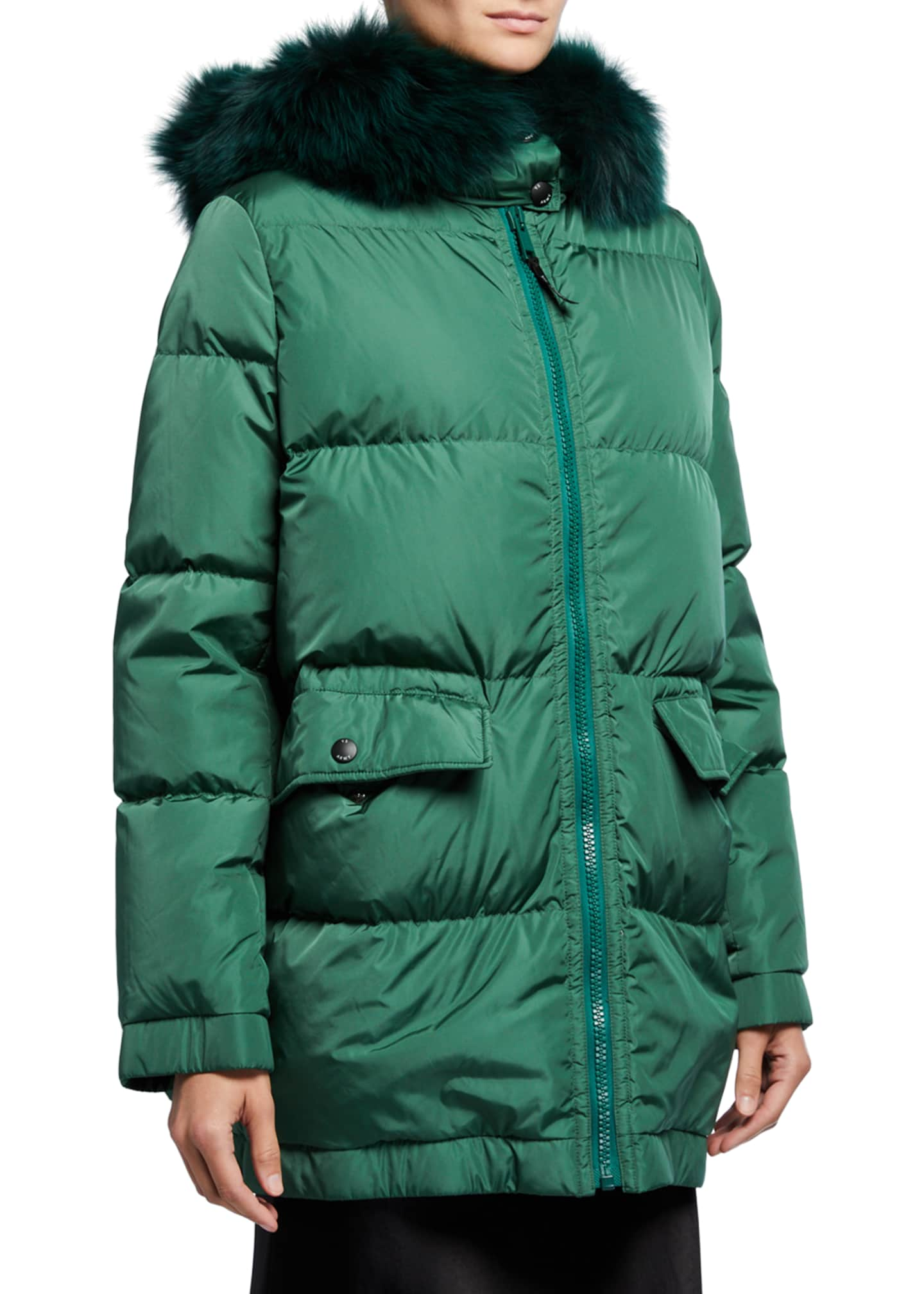 Army By Yves Salomon Hooded Fox Fur-Ruff Puffer