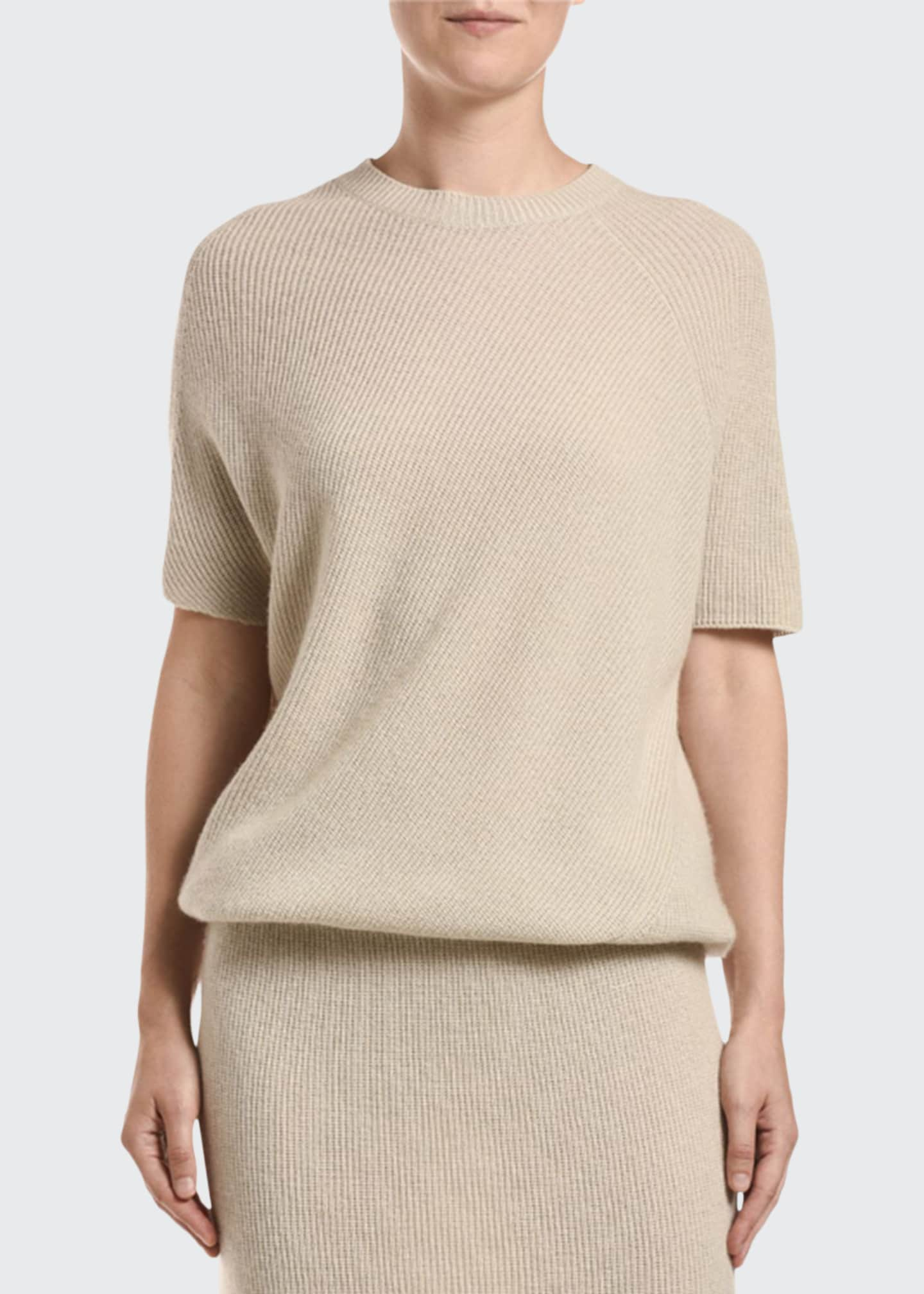 Agnona Short-Sleeve Ribbed Cashmere Dress