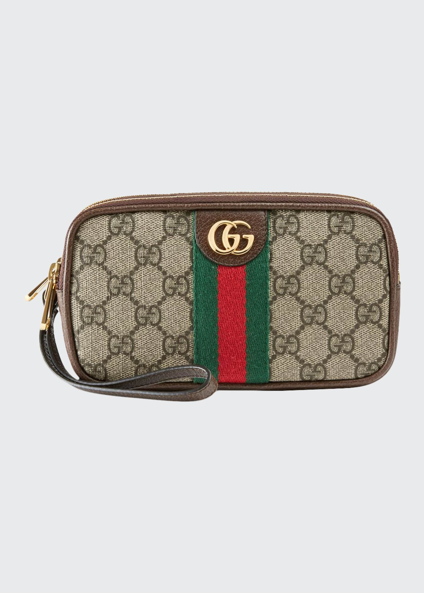 Gucci Ophidia Fabric Zip Top Wristlet
