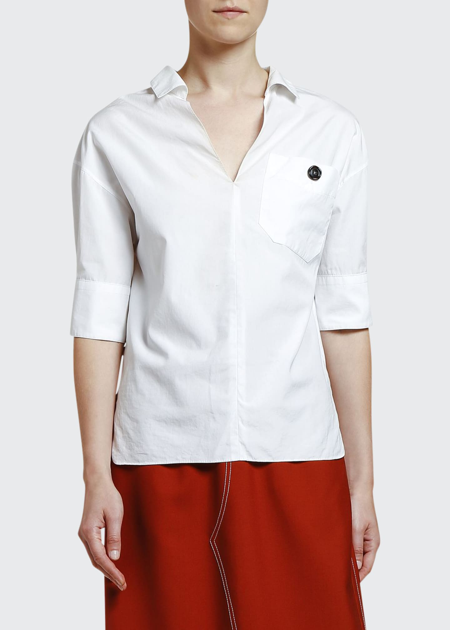 Image 1 of 3: Cotton Poplin Polo Neck Blouse