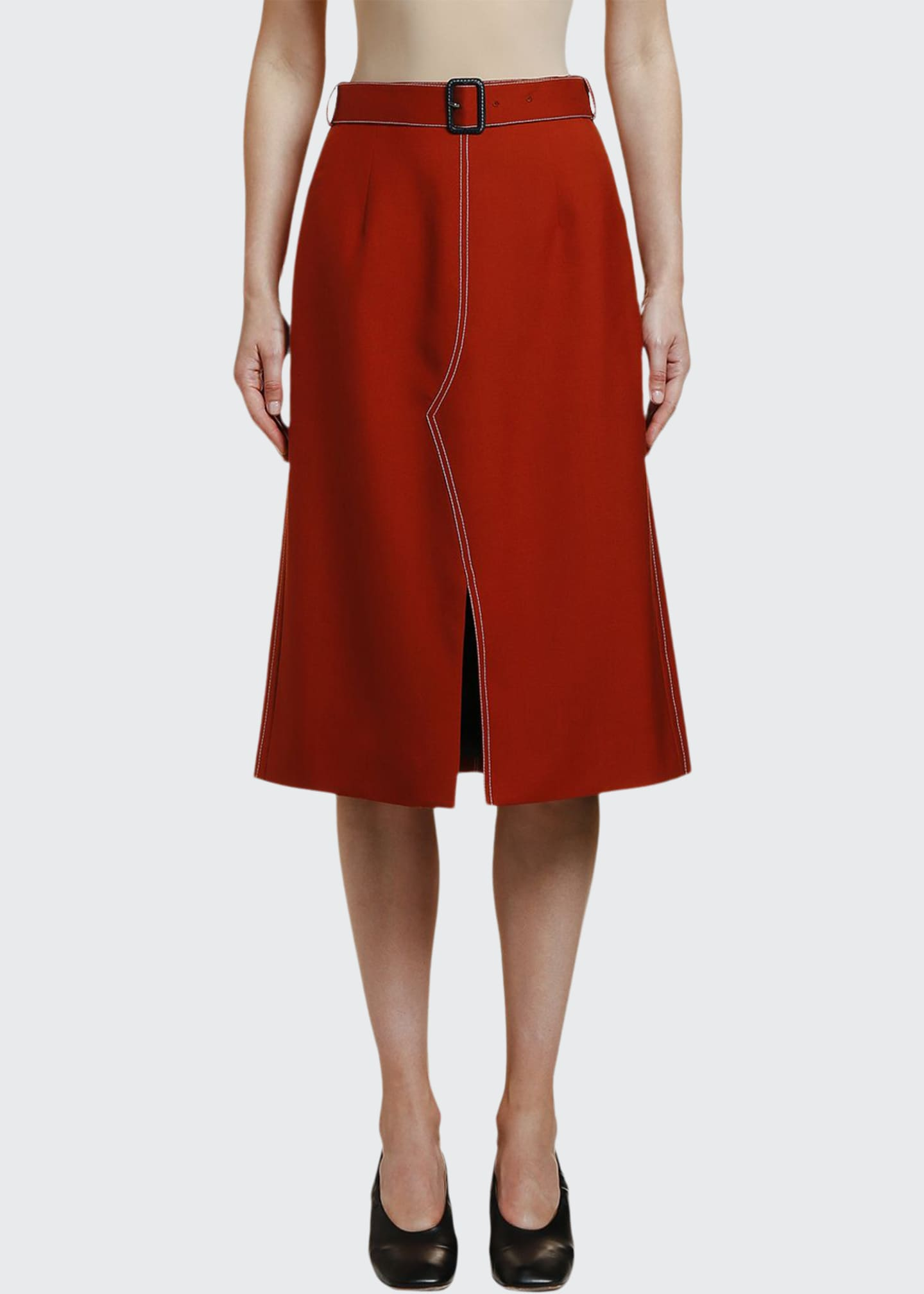 Marni Belted Wool Utility Skirt