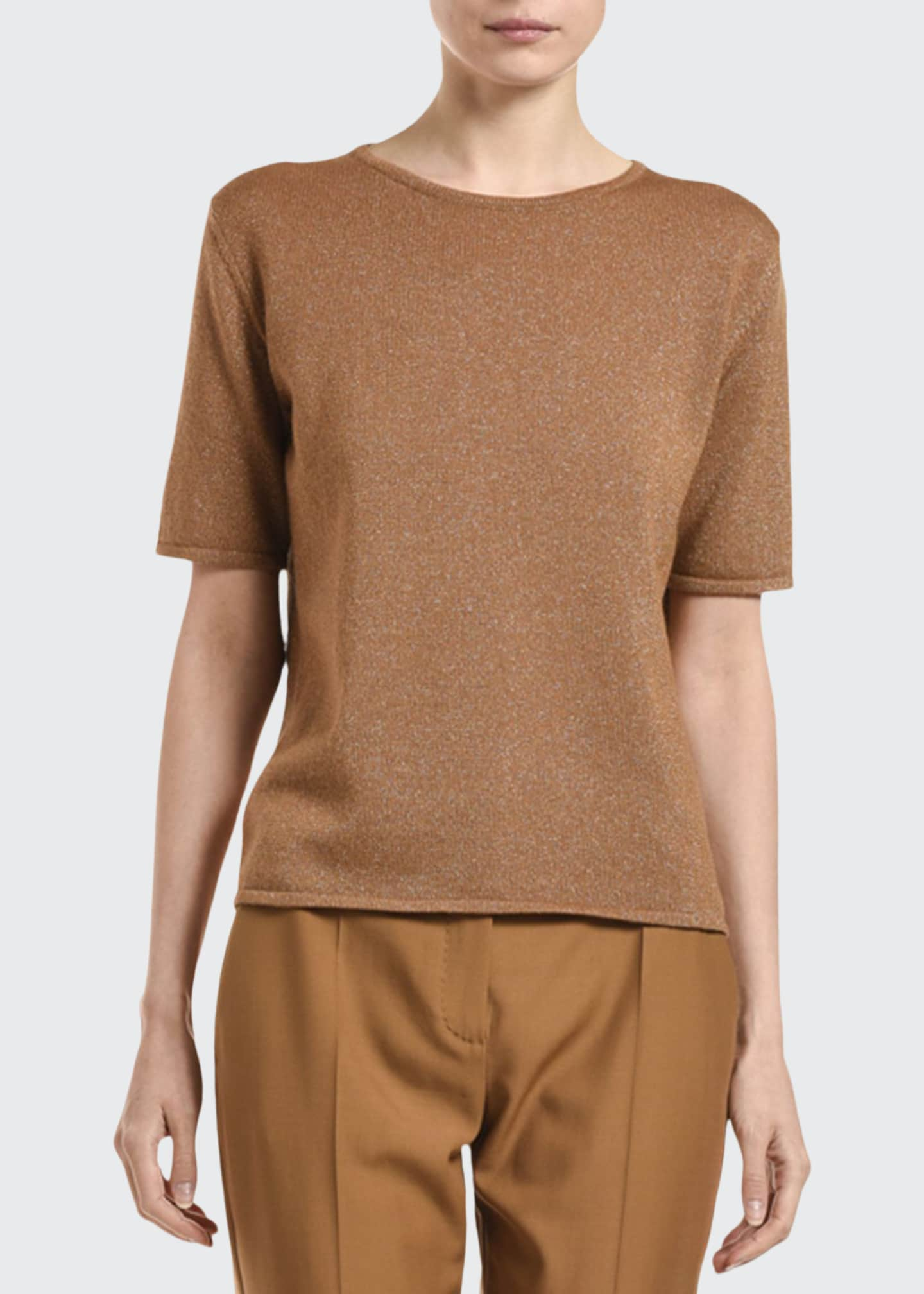Image 1 of 2: Cashmere Shimmered Short-Sleeve Sweater