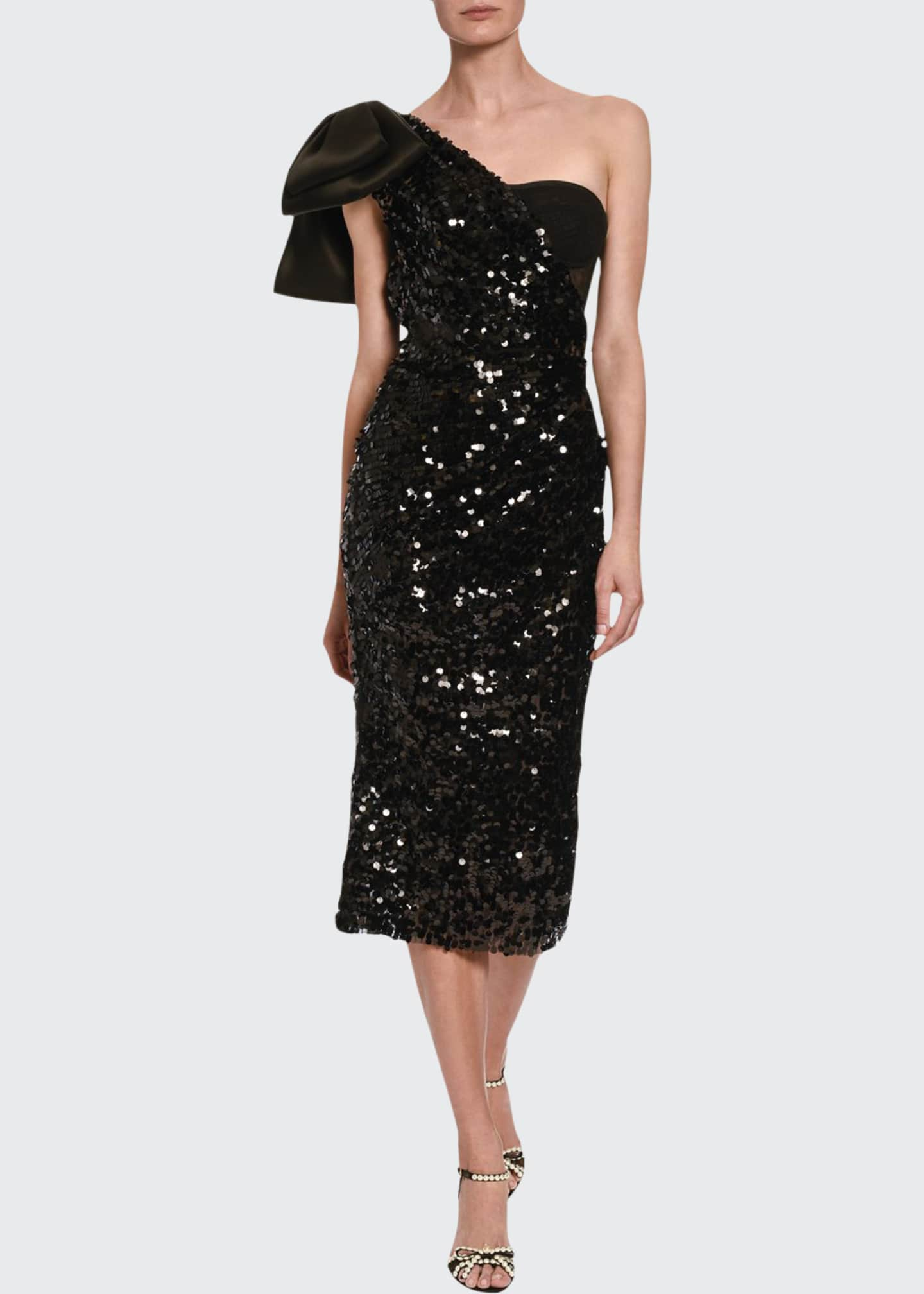 Image 1 of 2: Sequined One-Sleeve Cocktail Dress