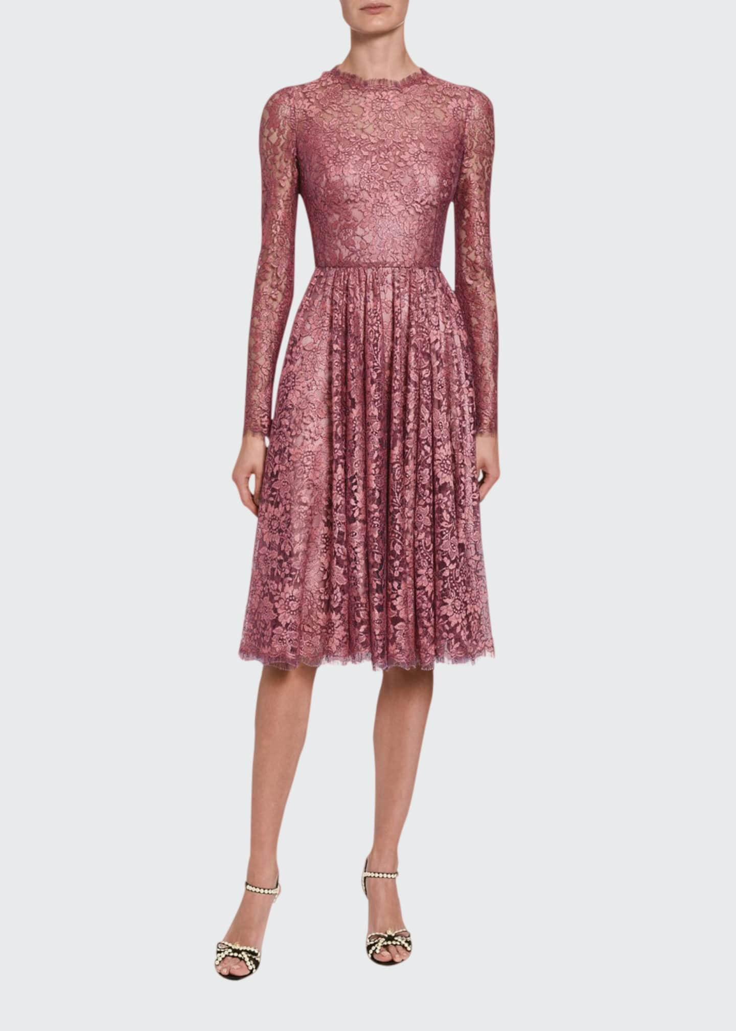 Image 1 of 2: Lame Chantilly Lace Long-Sleeve Dress