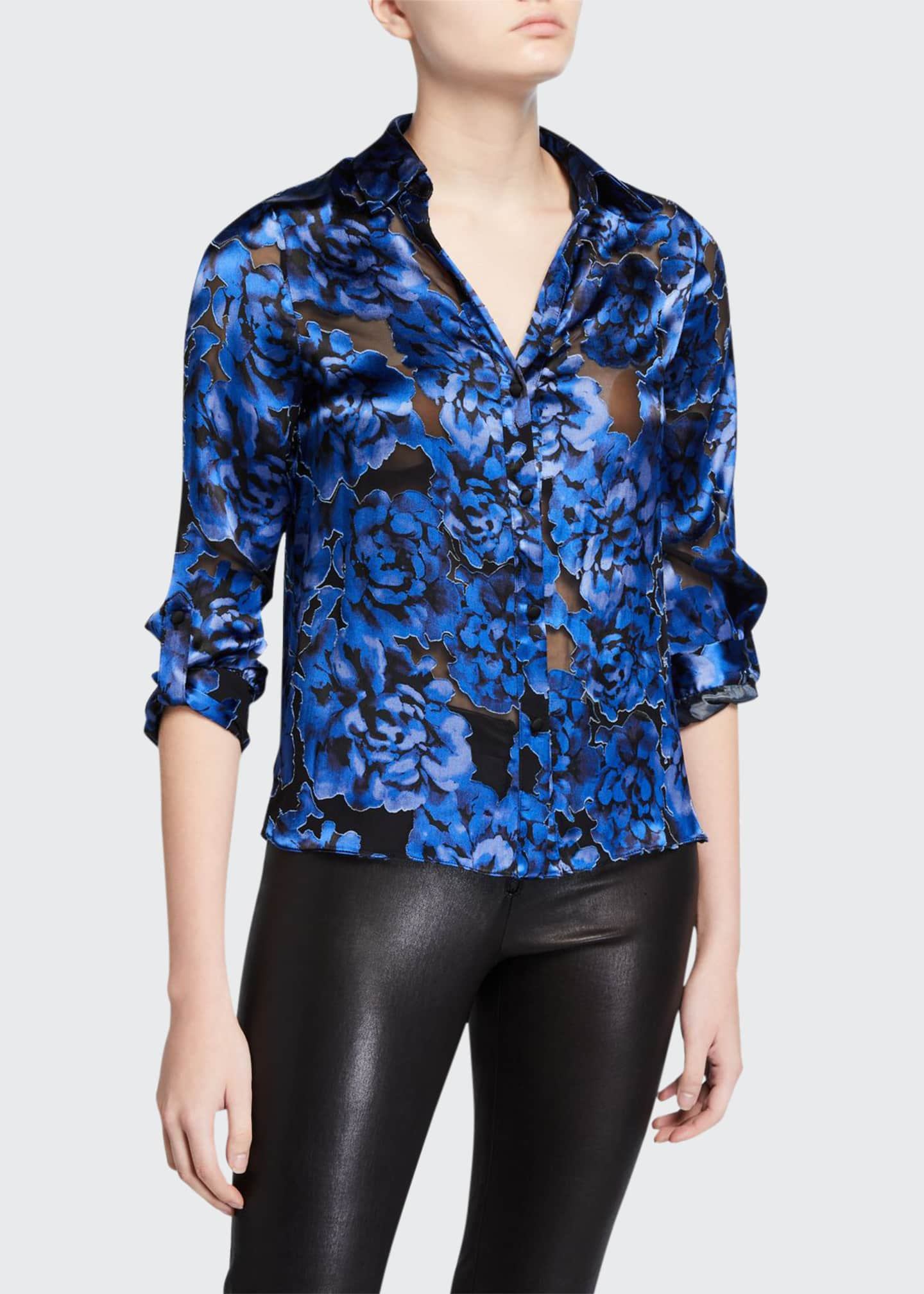 Alice + Olivia Eloise Roll-Cuff Button-Down Top