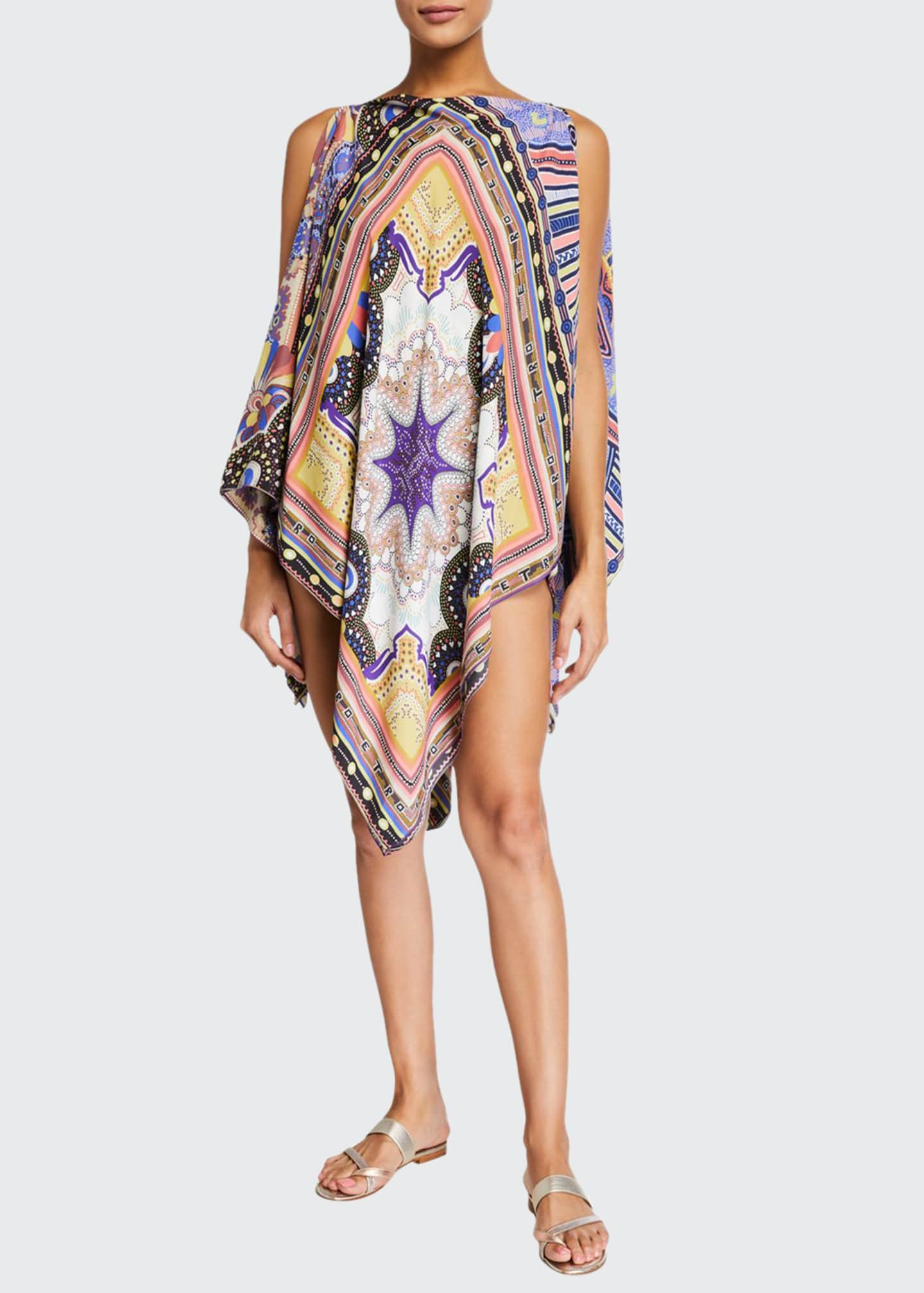 Etro Geometric Paisley Cold-Shoulder Coverup Poncho