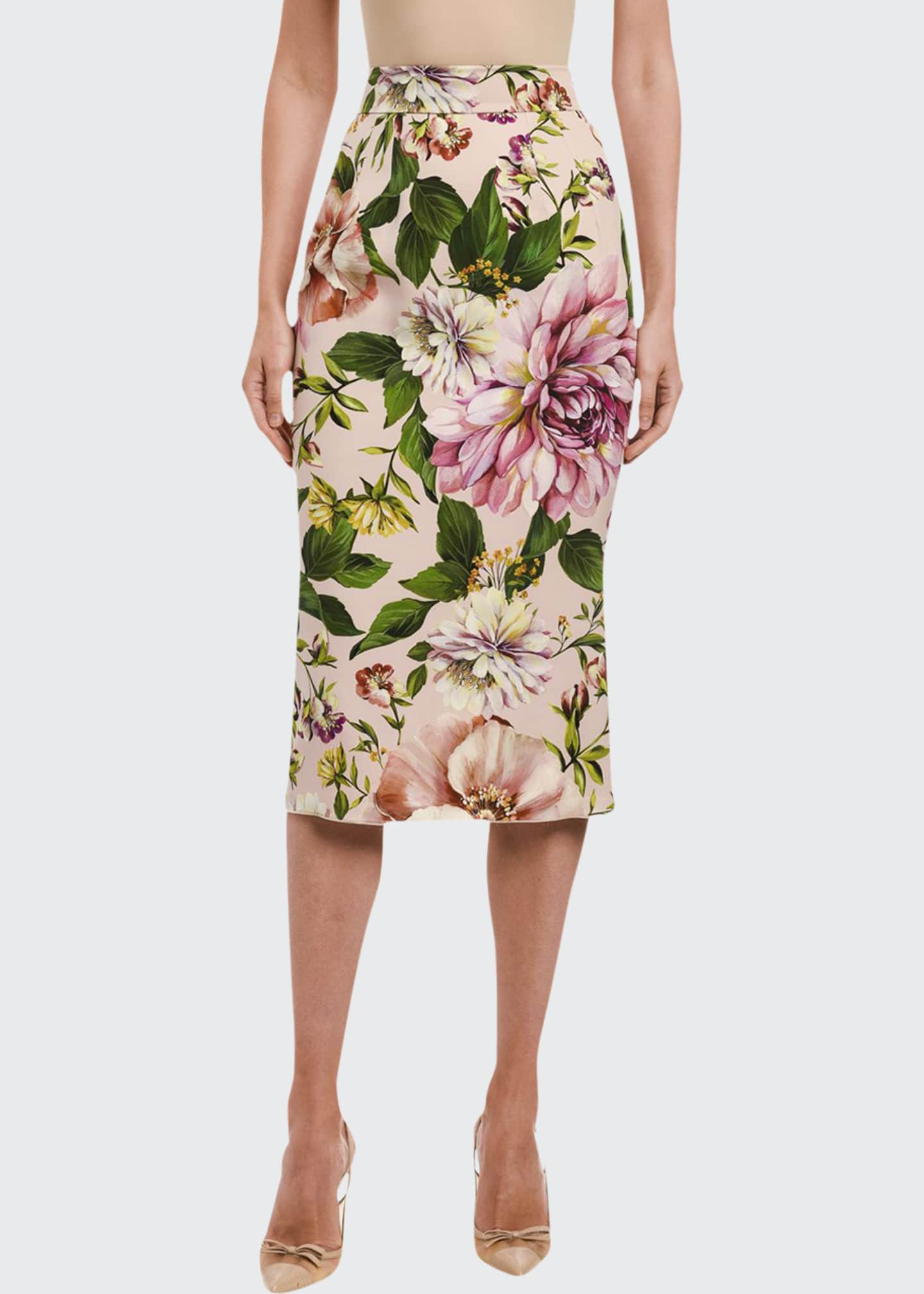 Image 1 of 2: Floral-Print Charmeuse Pencil Skirt
