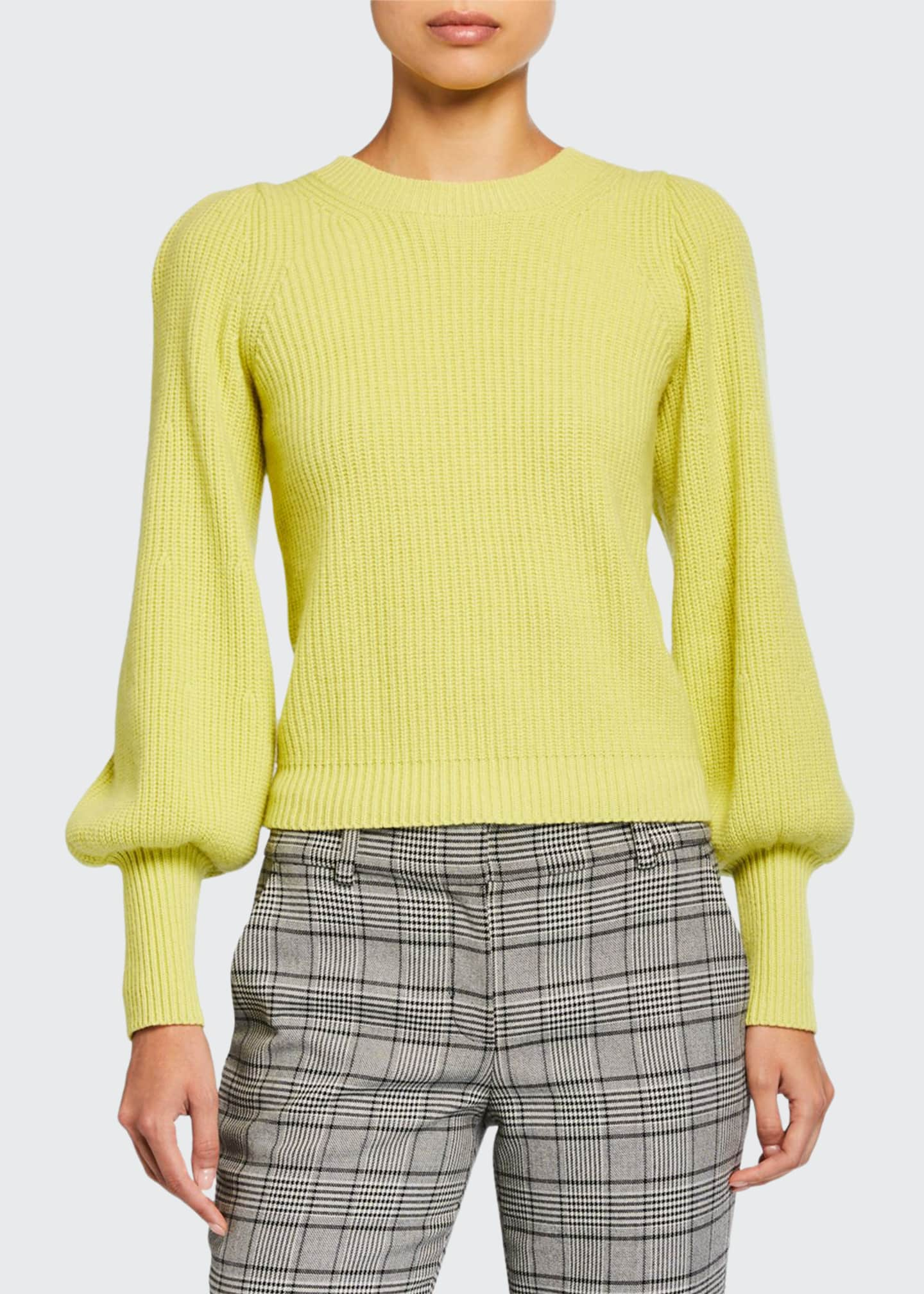 A.L.C. Eliana Crewneck Bishop-Sleeve Sweater