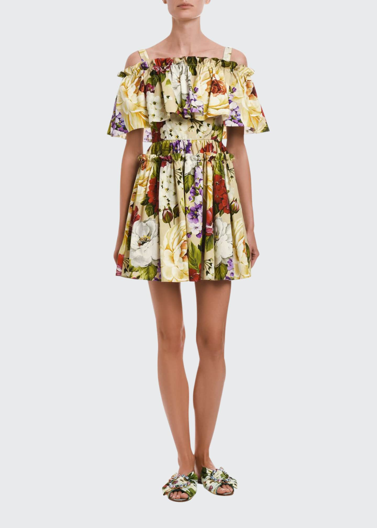 Image 1 of 2: Floral Stretch Poplin Cold Shoulder Flounce Dress