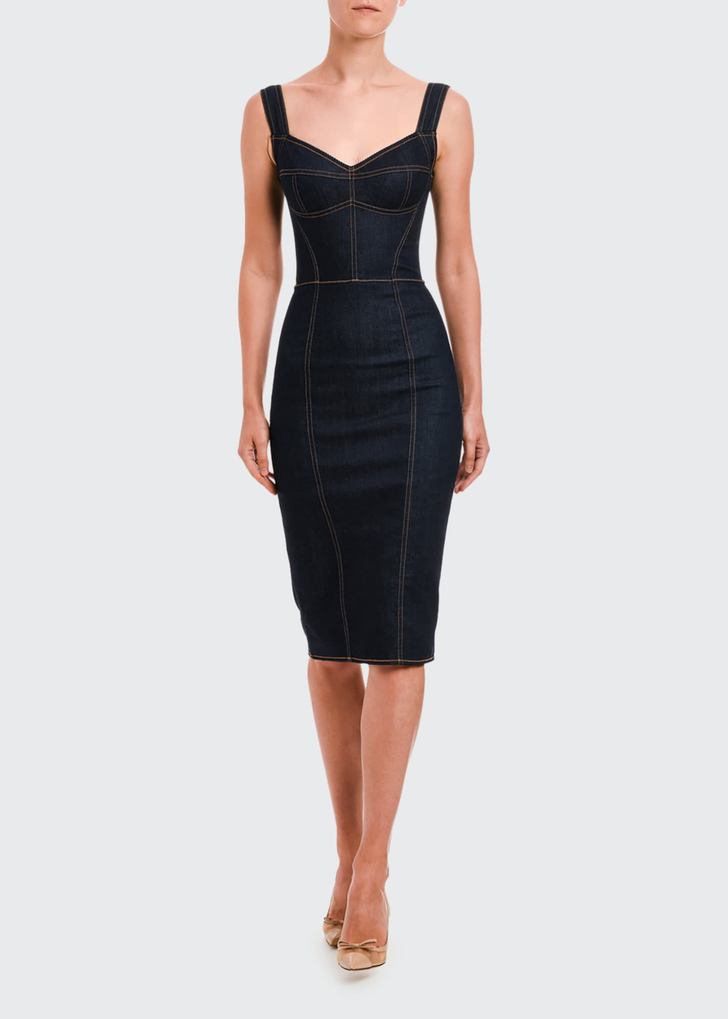 Image 1 of 2: Sleeveless Stretch Denim Pencil Dress