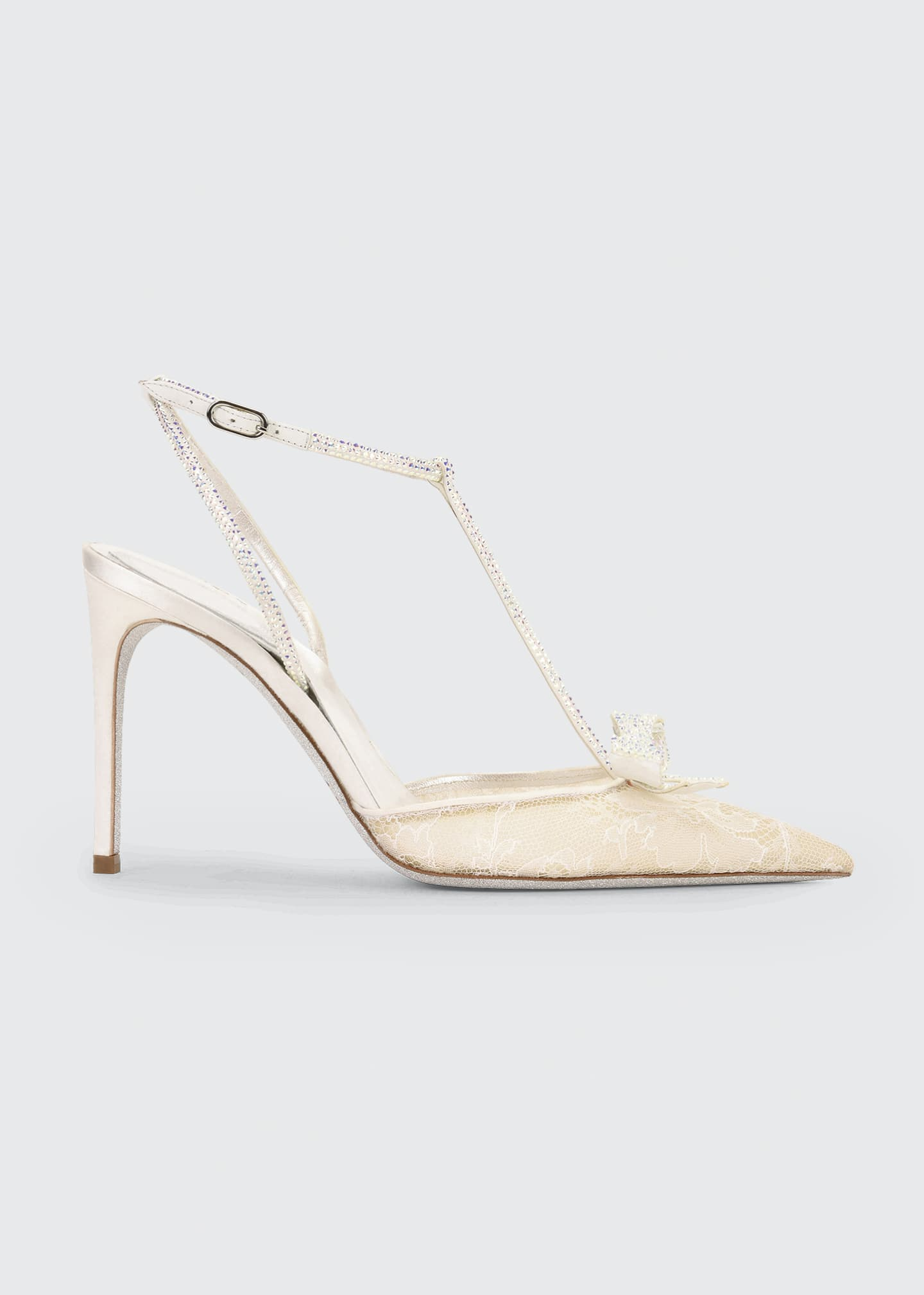 Rene Caovilla Bejeweled Lace & Satin T-Strap Pumps
