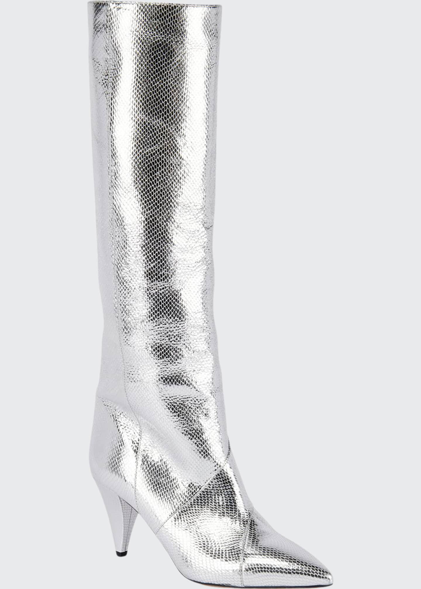 Image 1 of 4: Laomi Metallic Leather Mid Boots