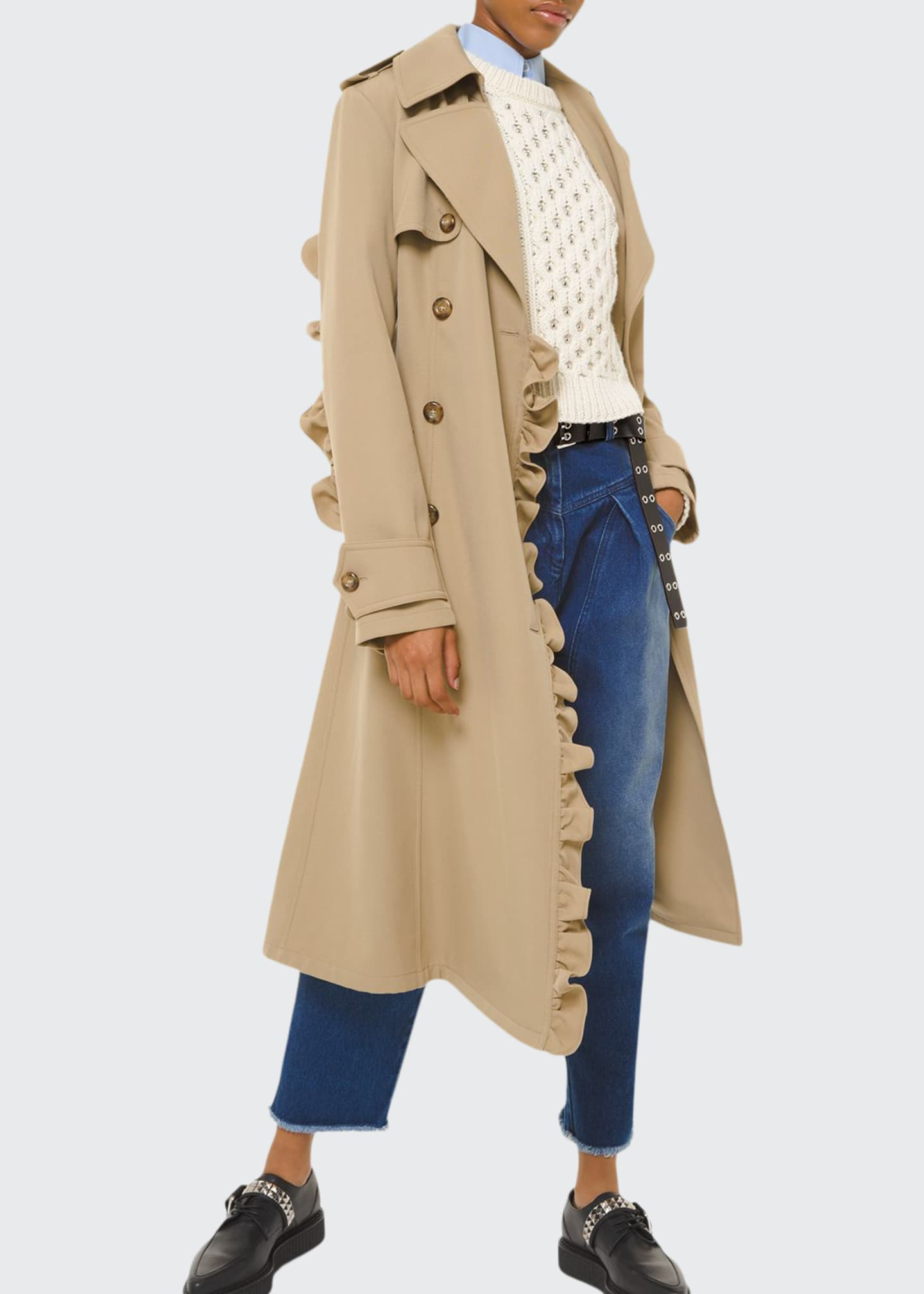 Michael Kors Collection Ruffled-Trimmed Trench Coat