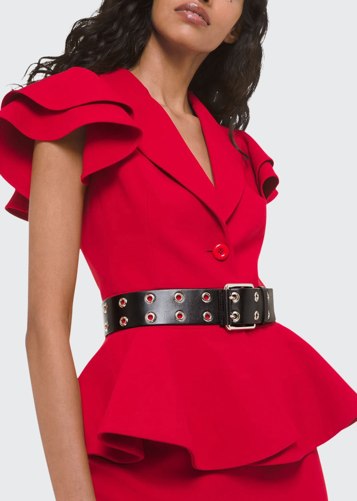 Michael Kors Collection Ruffled Cap-Sleeve Peplum Jacket