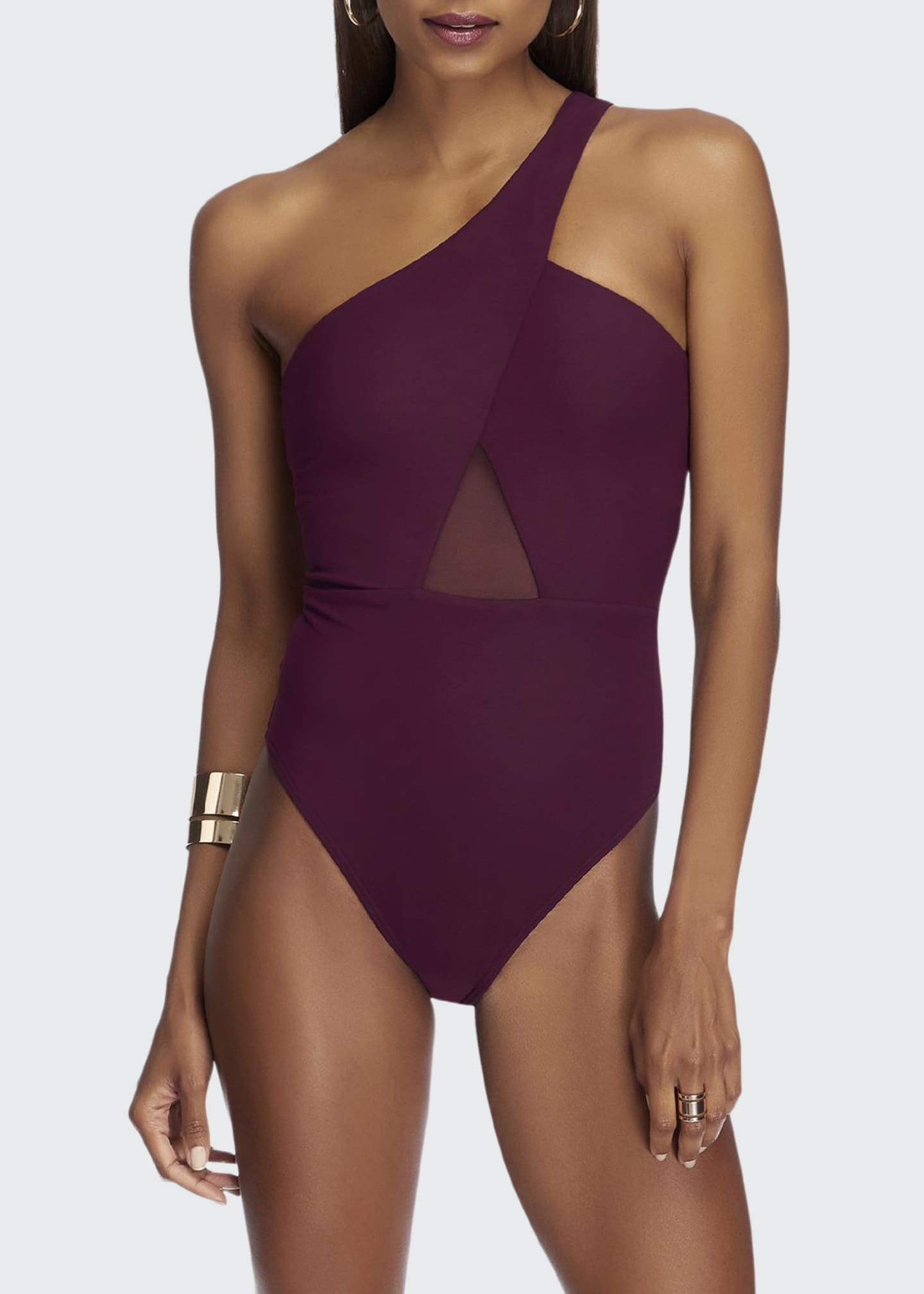 JETS by Jessika Allen One-Shoulder Mesh-Inset One-Piece Swimsuit
