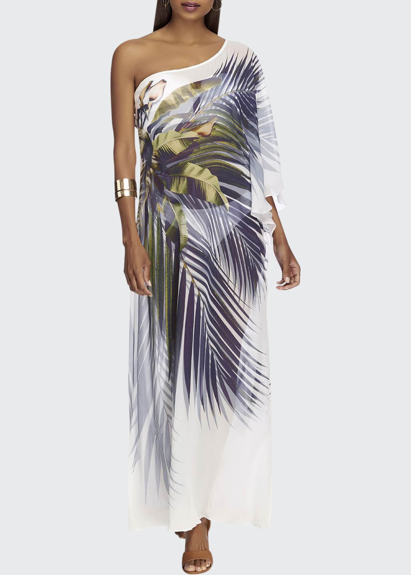 JETS by Jessika Allen One-Shoulder Printed Kaftan
