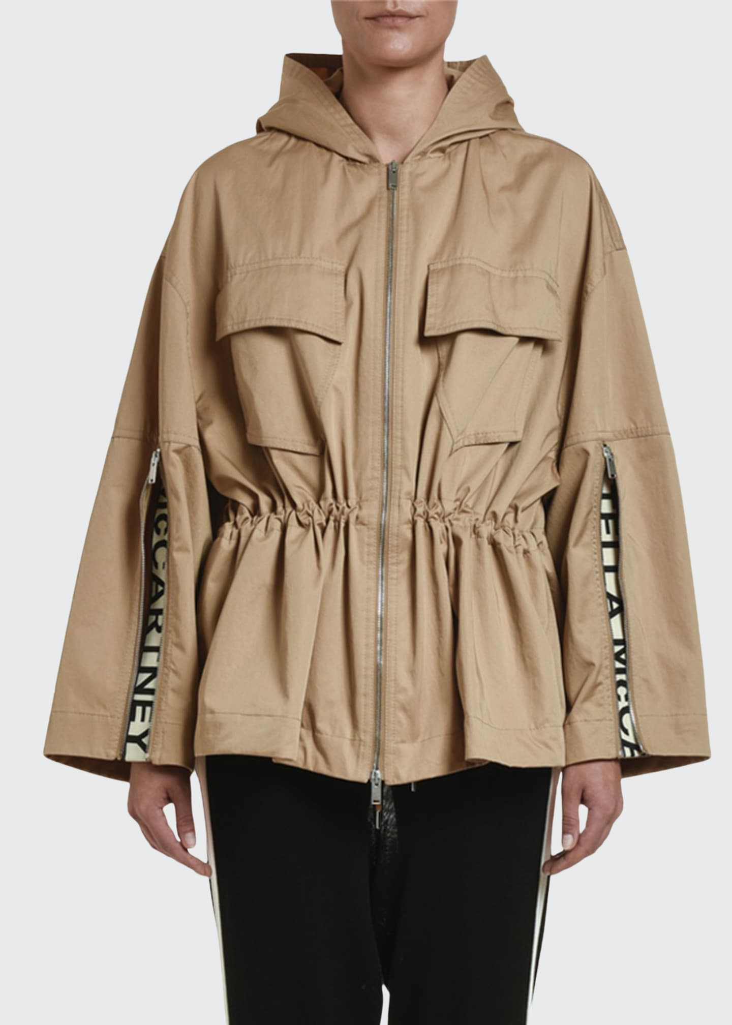 Stella McCartney Drawstring-Waist Cropped Trench Jacket