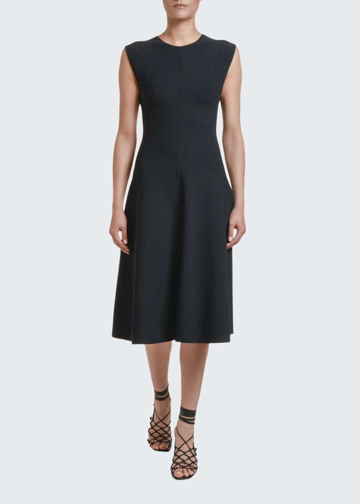 Image 1 of 2: Sleeveless Compact Knit A-Line Dress