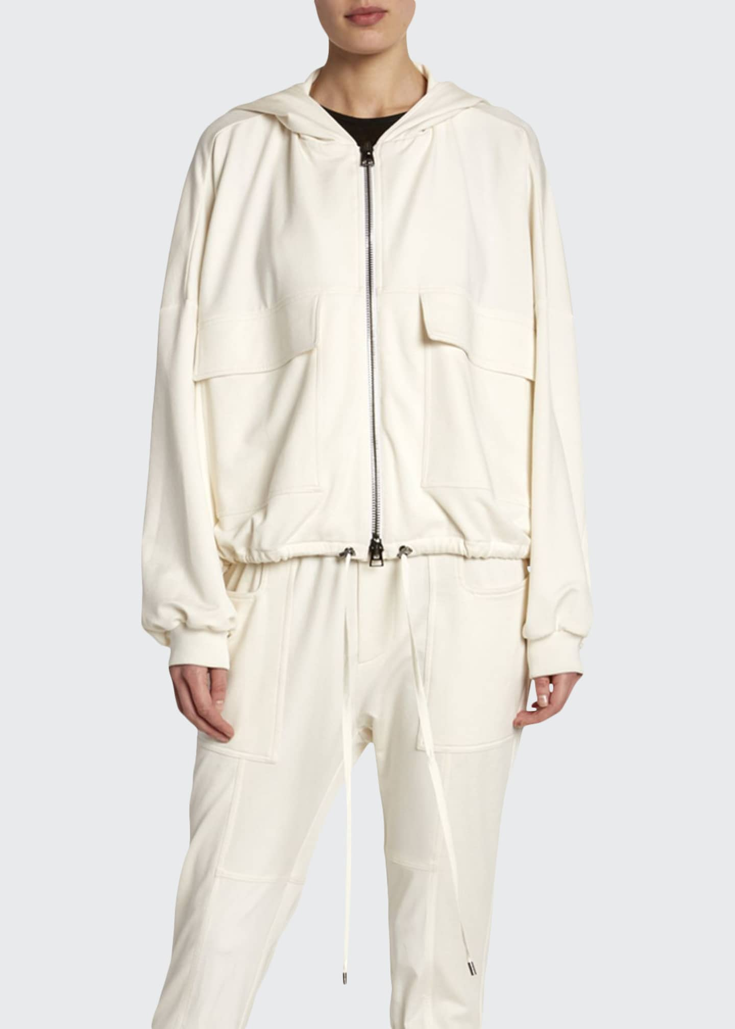 Image 1 of 2: Stretch-Silk Terry Track Jacket