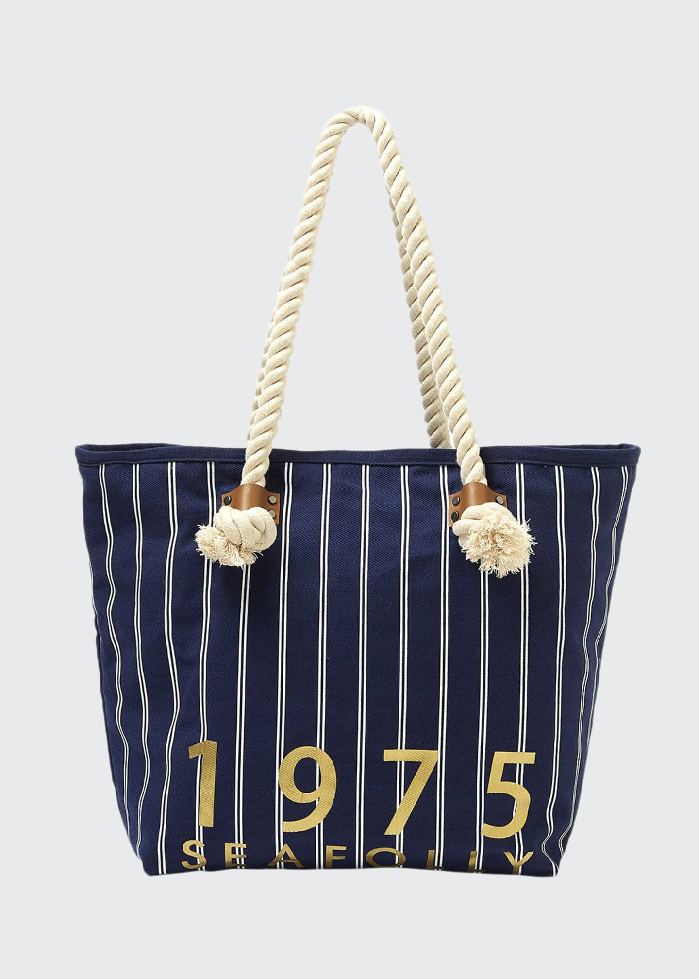 Image 1 of 2: Striped Denim Beach Tote Bag