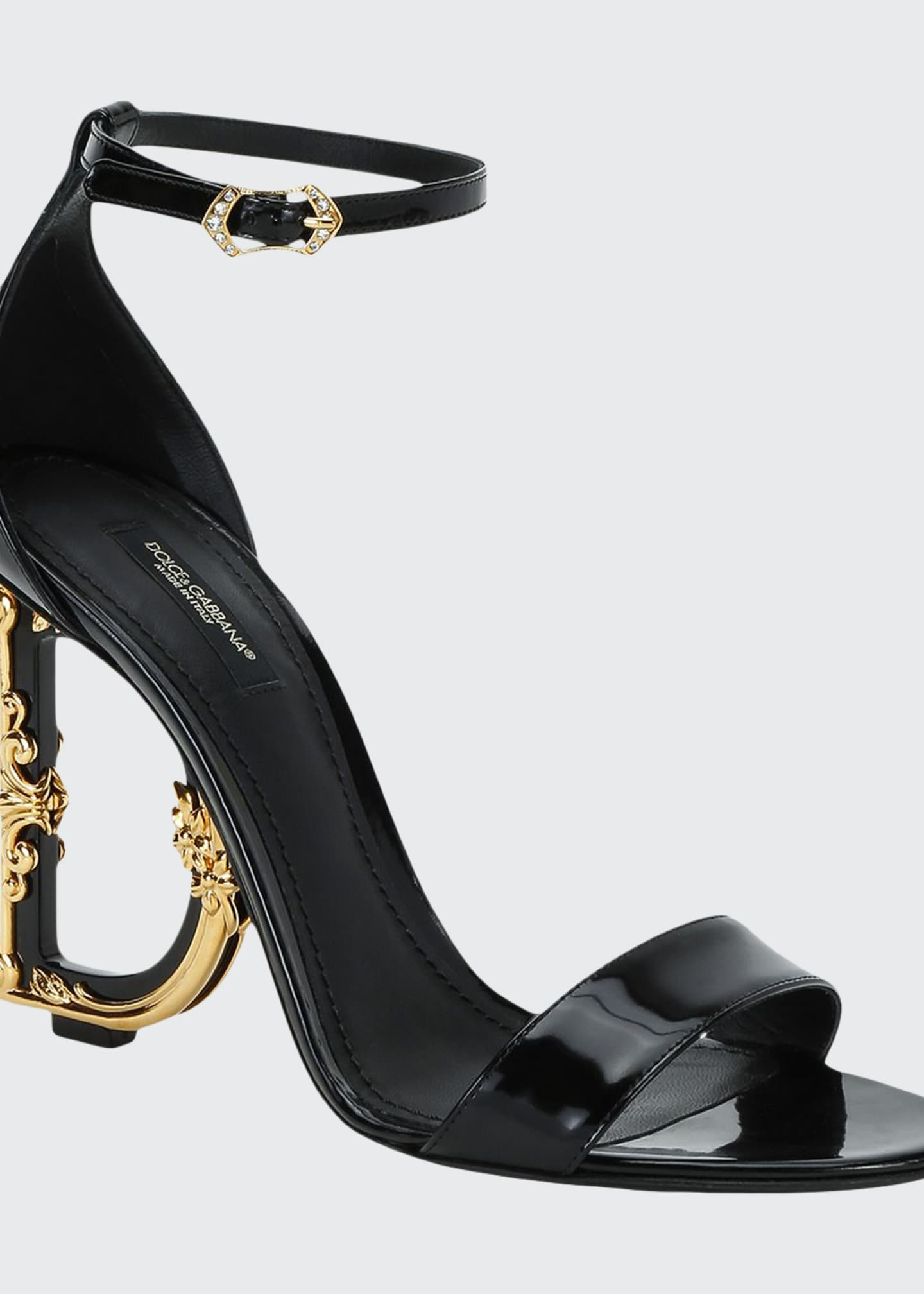 Dolce & Gabbana Patent Leather Sandals with Logo