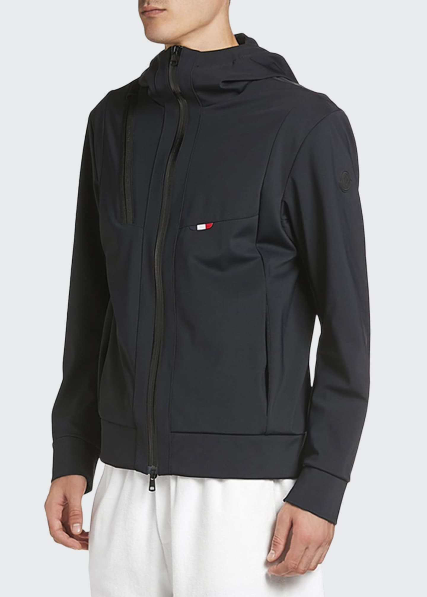 Image 1 of 2: Men's Zip-Front Hooded Knit Jacket