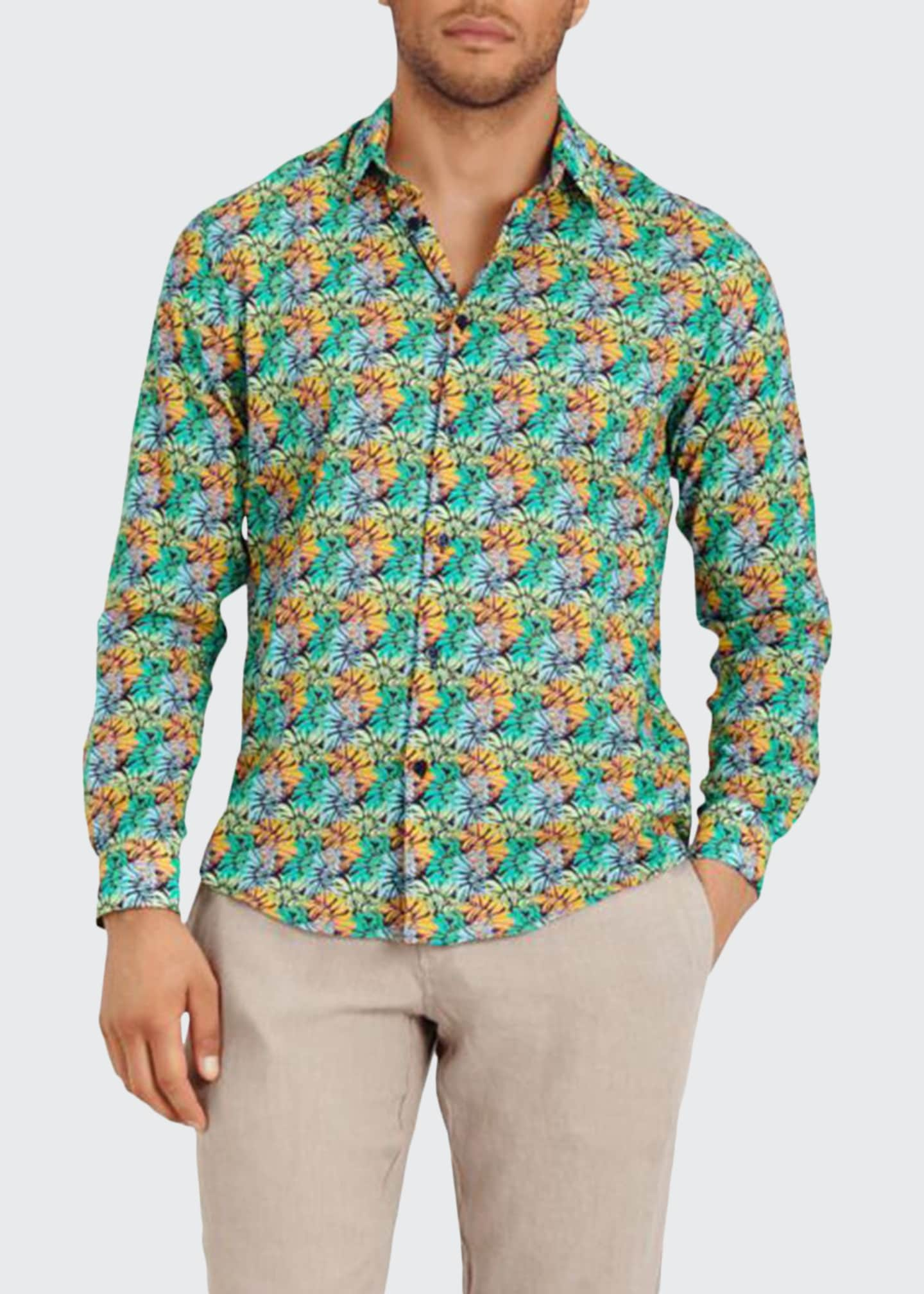 Image 1 of 2: Men's Jungle-Print Sport Shirt