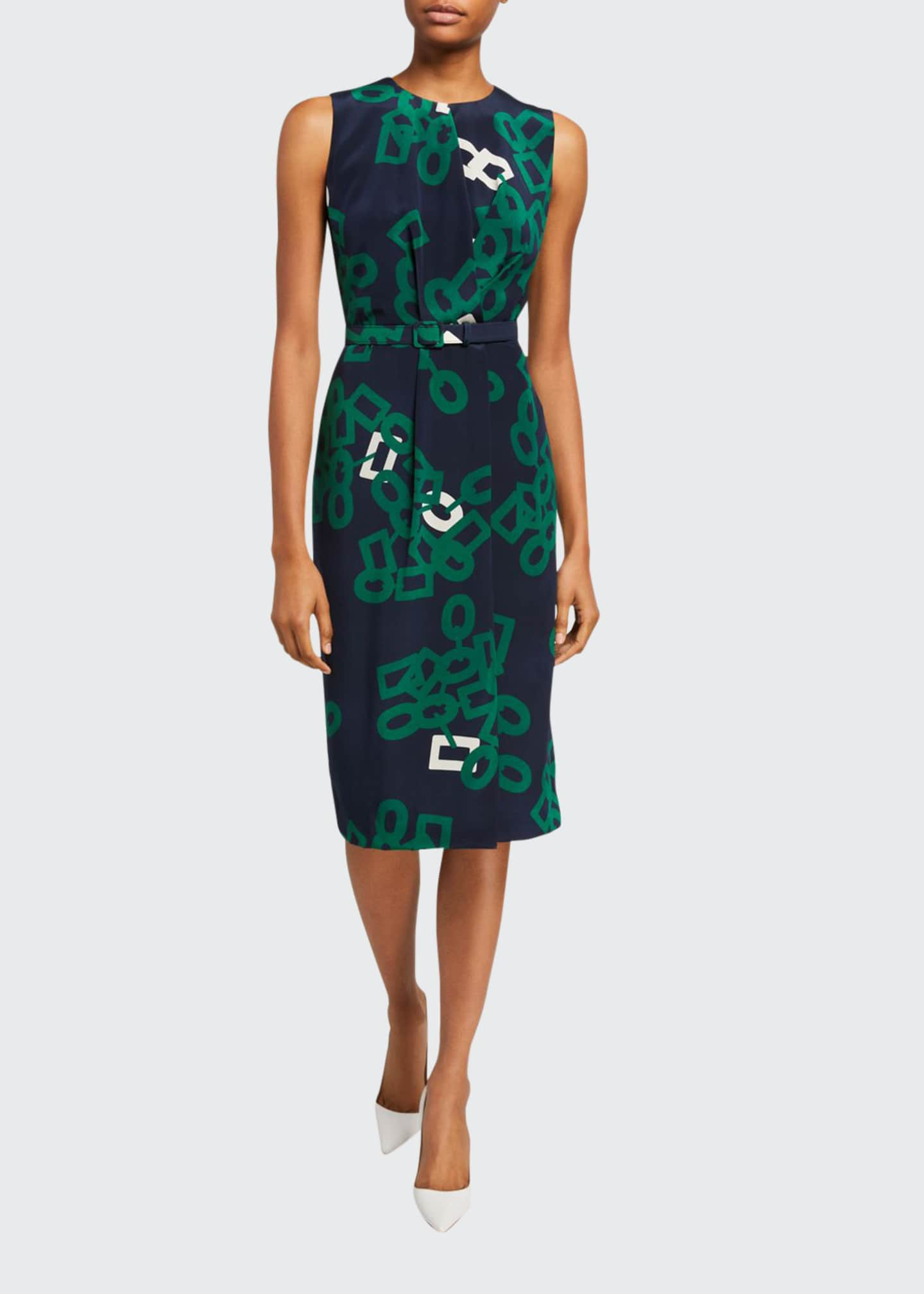 Image 1 of 2: Jude Falling Link Print Sleeveless Belted Silk Dress