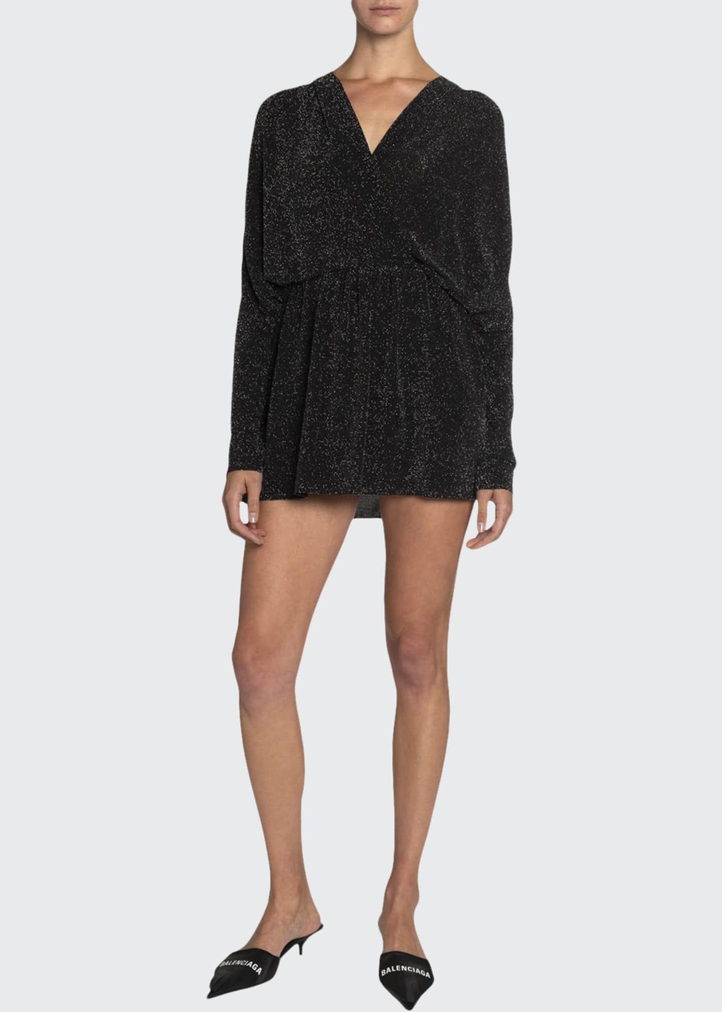 Balenciaga Metallic Jersey V-Neck Mini Dress