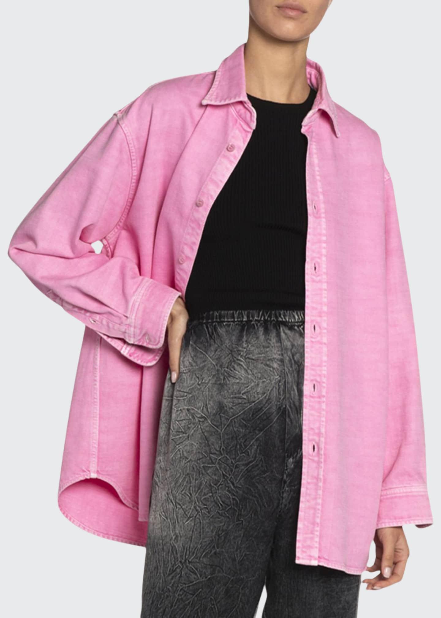 Balenciaga Over-Dyed Denim Button-Front Shirt