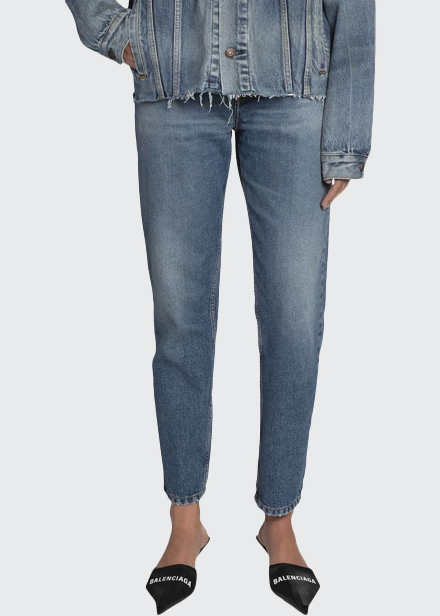 Image 1 of 2: High-Rise Cropped Slim-Leg Jeans