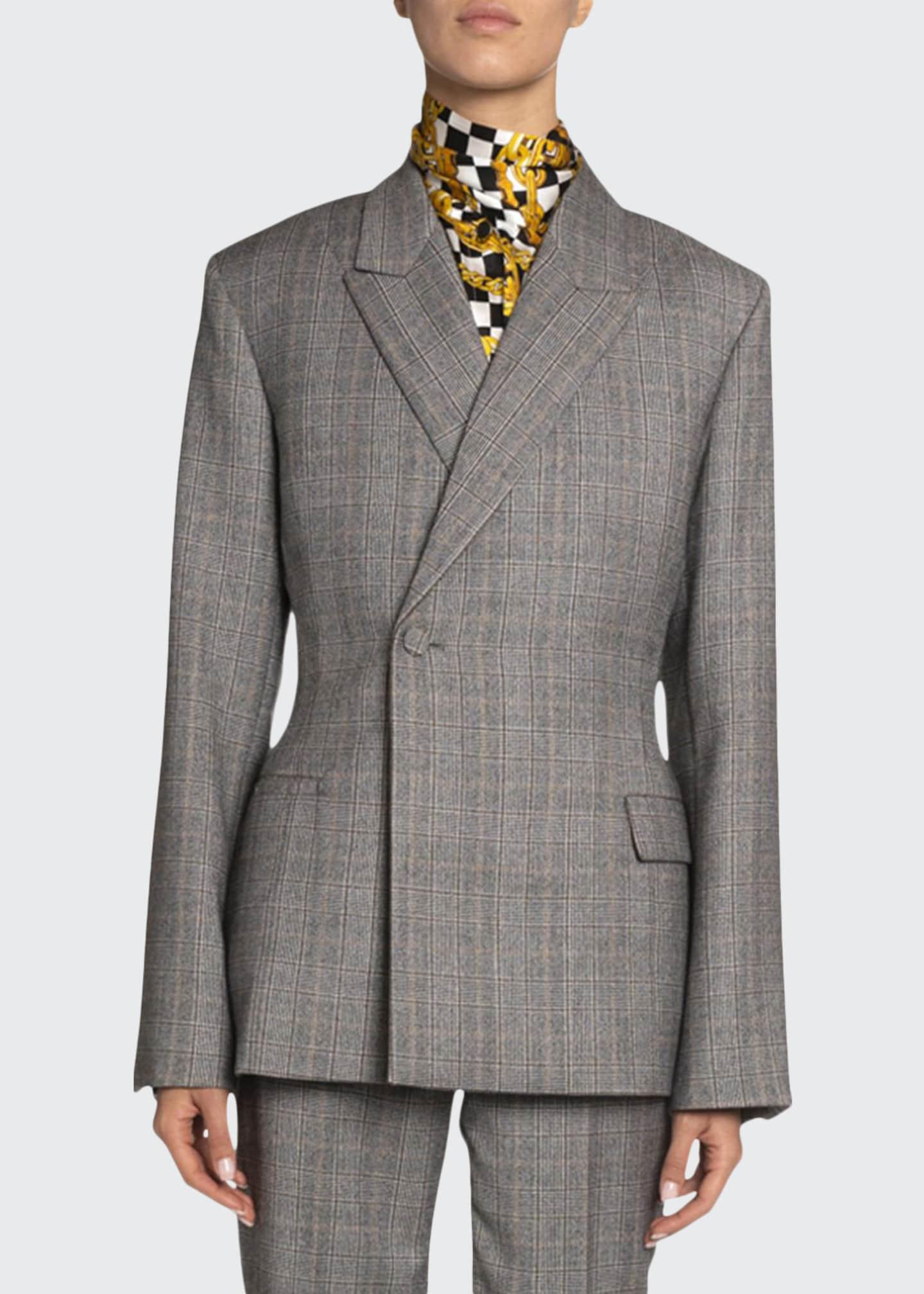 Balenciaga Checked Wool Blazer Jacket