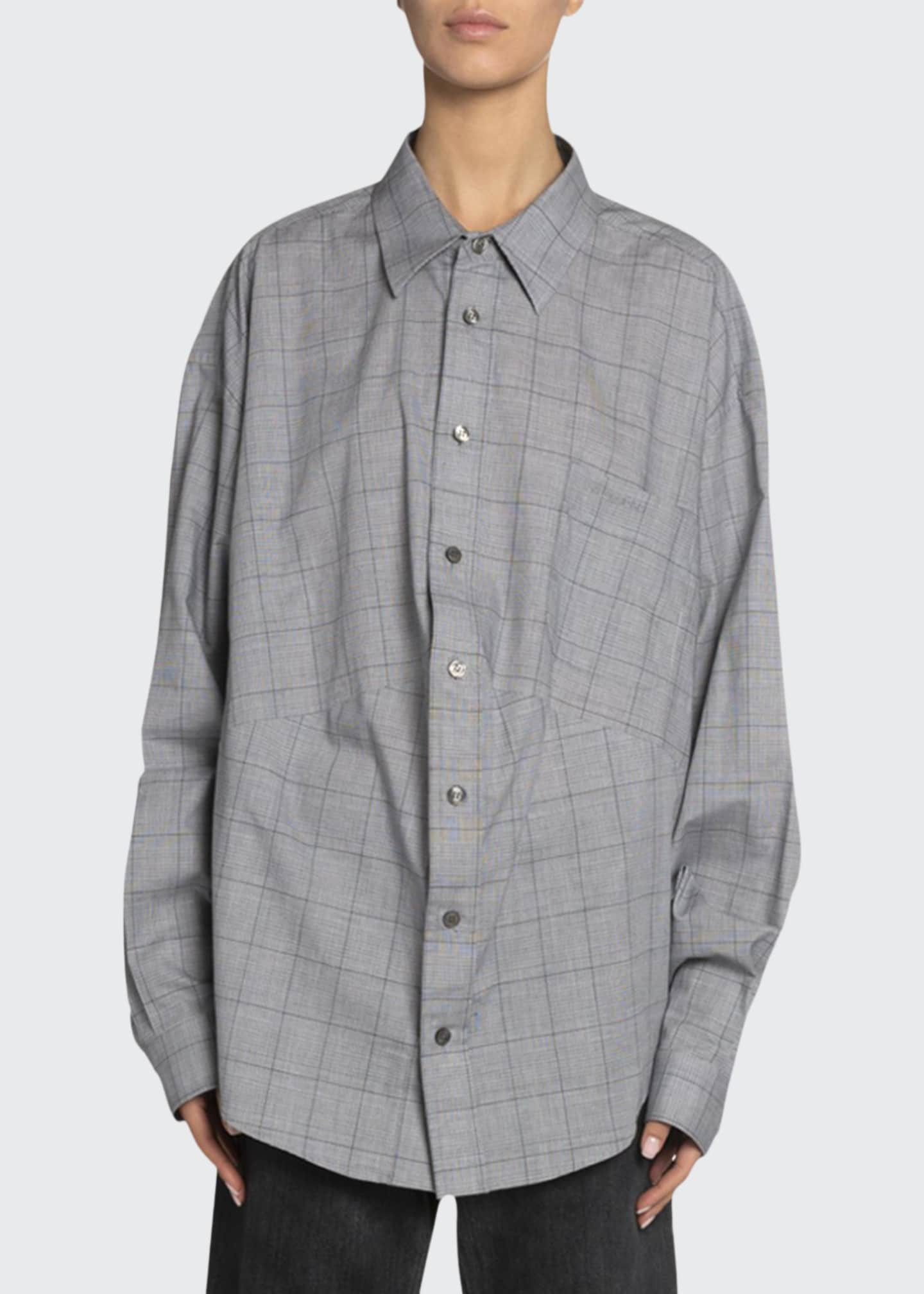 Balenciaga Windowpane Cotton Button-Front Top