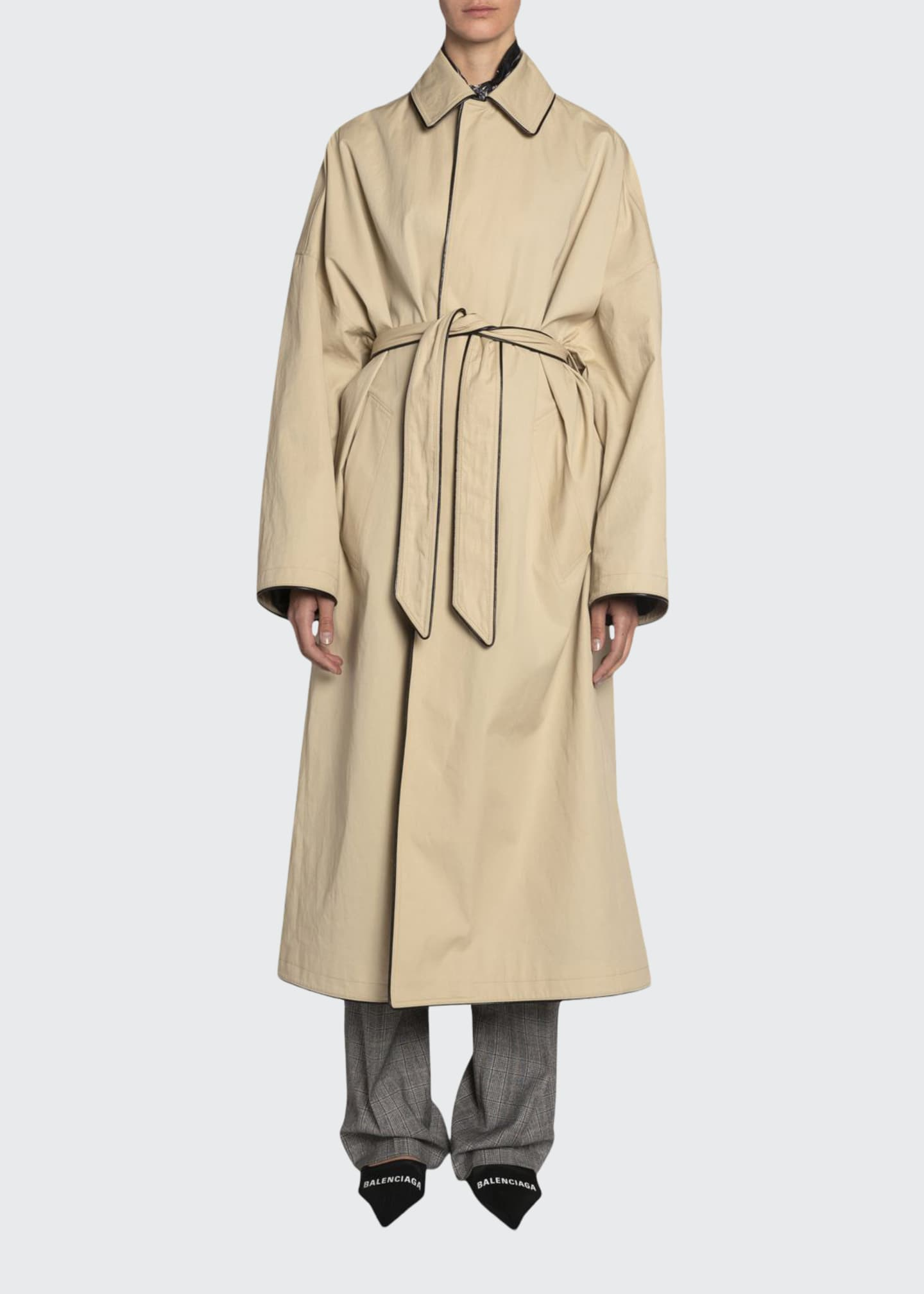 Image 1 of 3: Wrapped Cotton Cocoon Coat