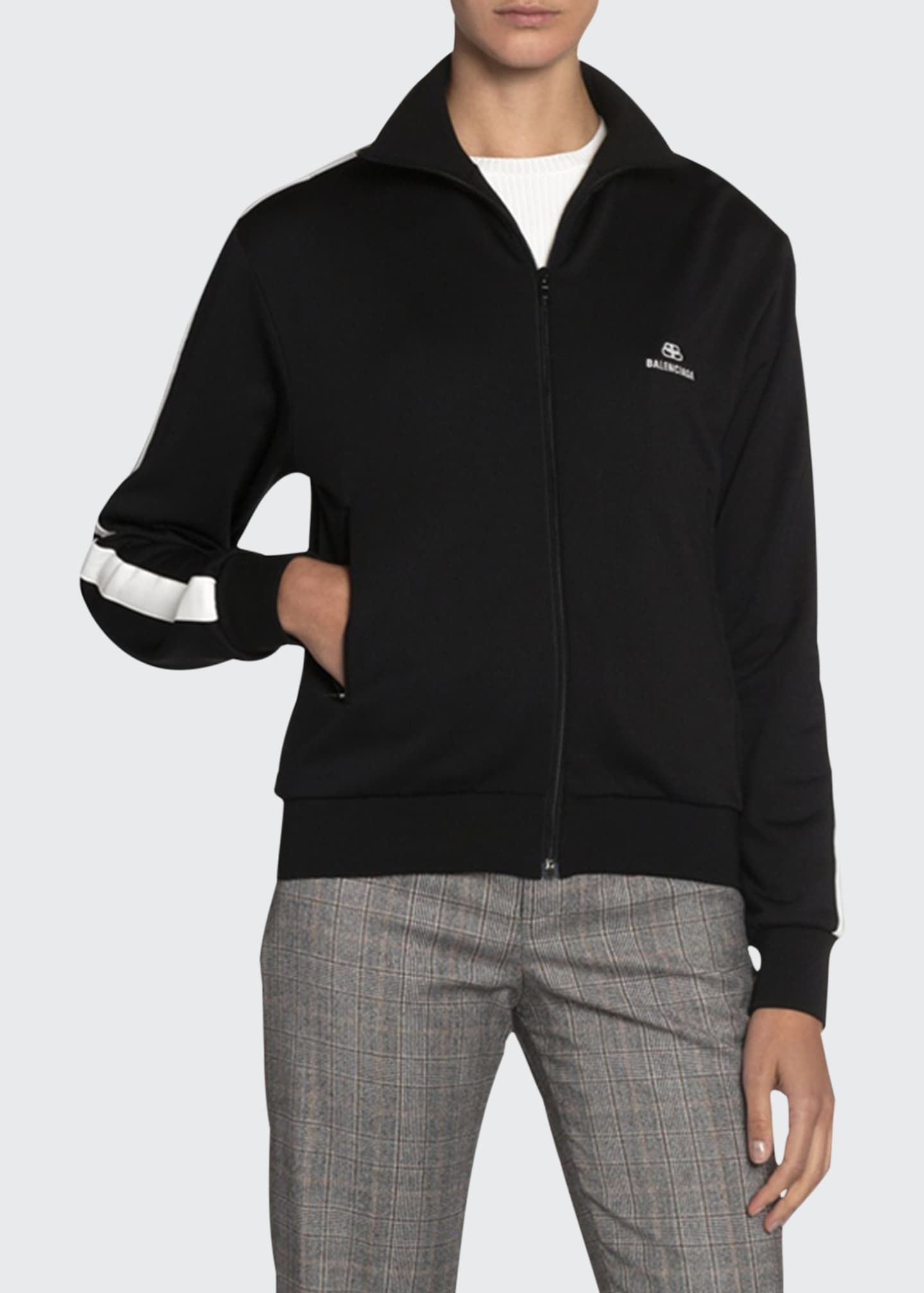 Balenciaga Jersey High-Neck Track Jacket