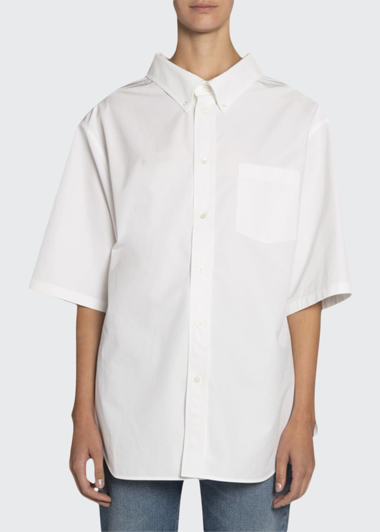 Image 1 of 2: Button-Down Short-Sleeve Swing Shirt