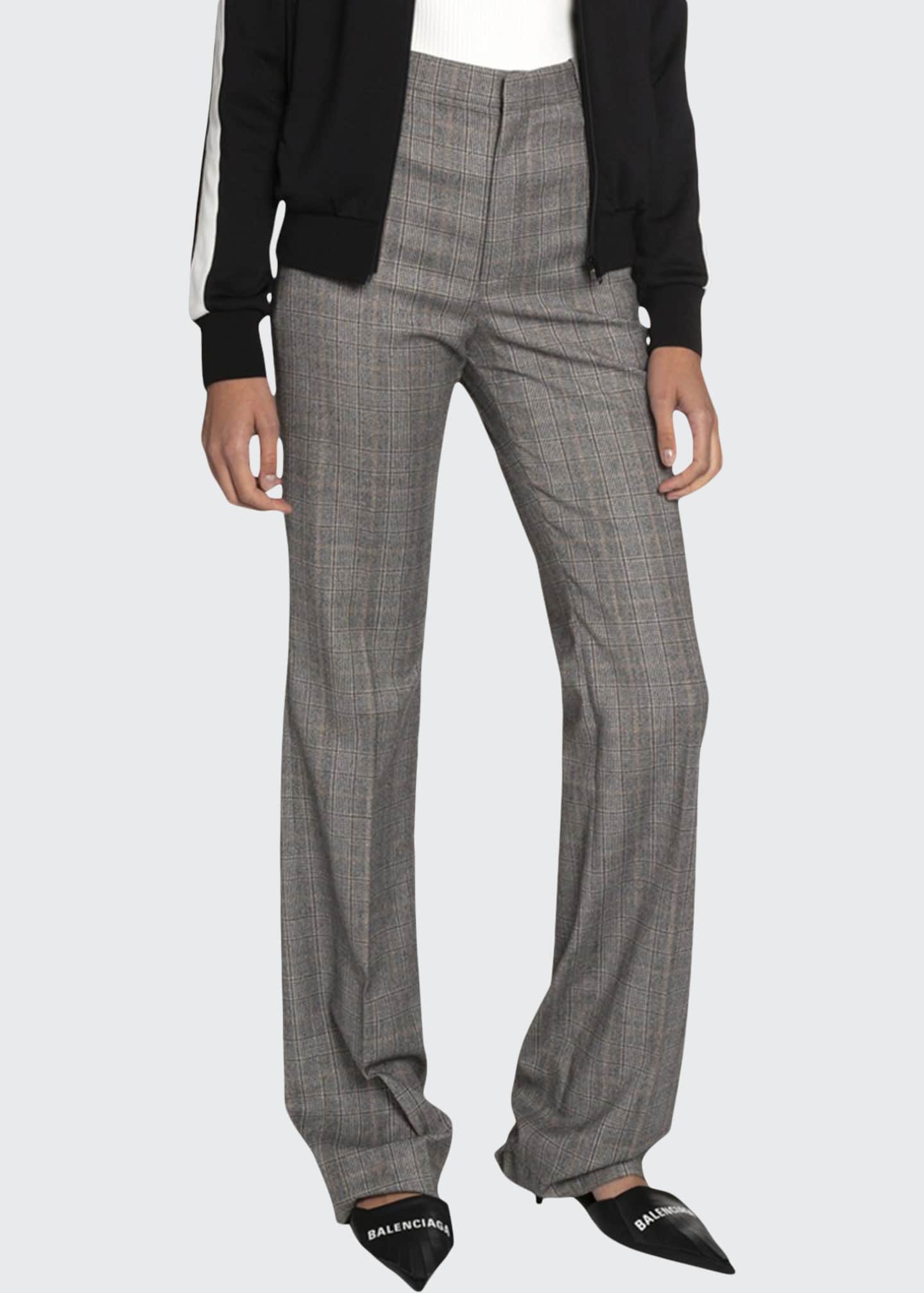 Image 1 of 2: Checked Wool High-Rise Pants