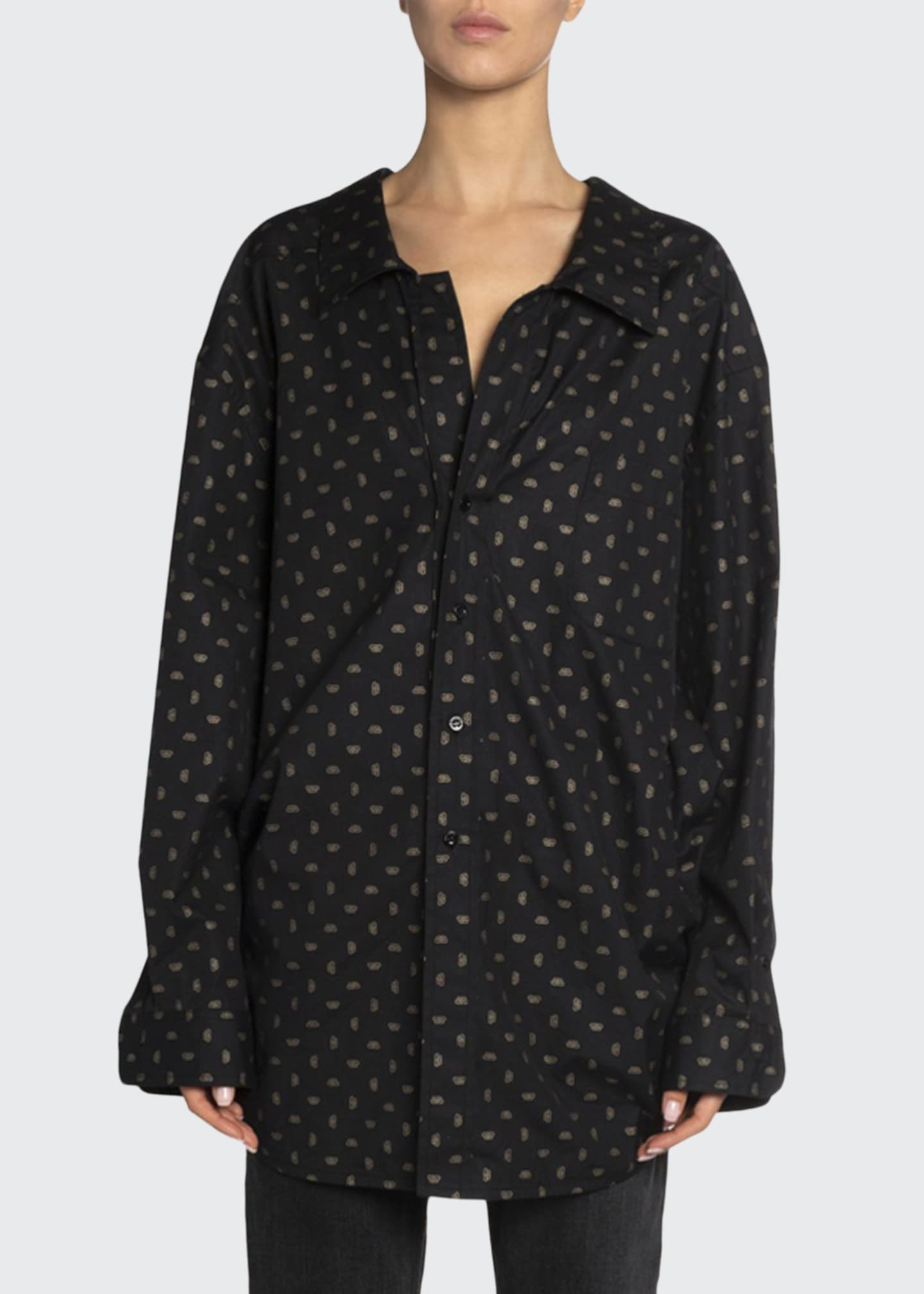 Image 1 of 2: Golden-Jacquard Poplin Button-Front Top